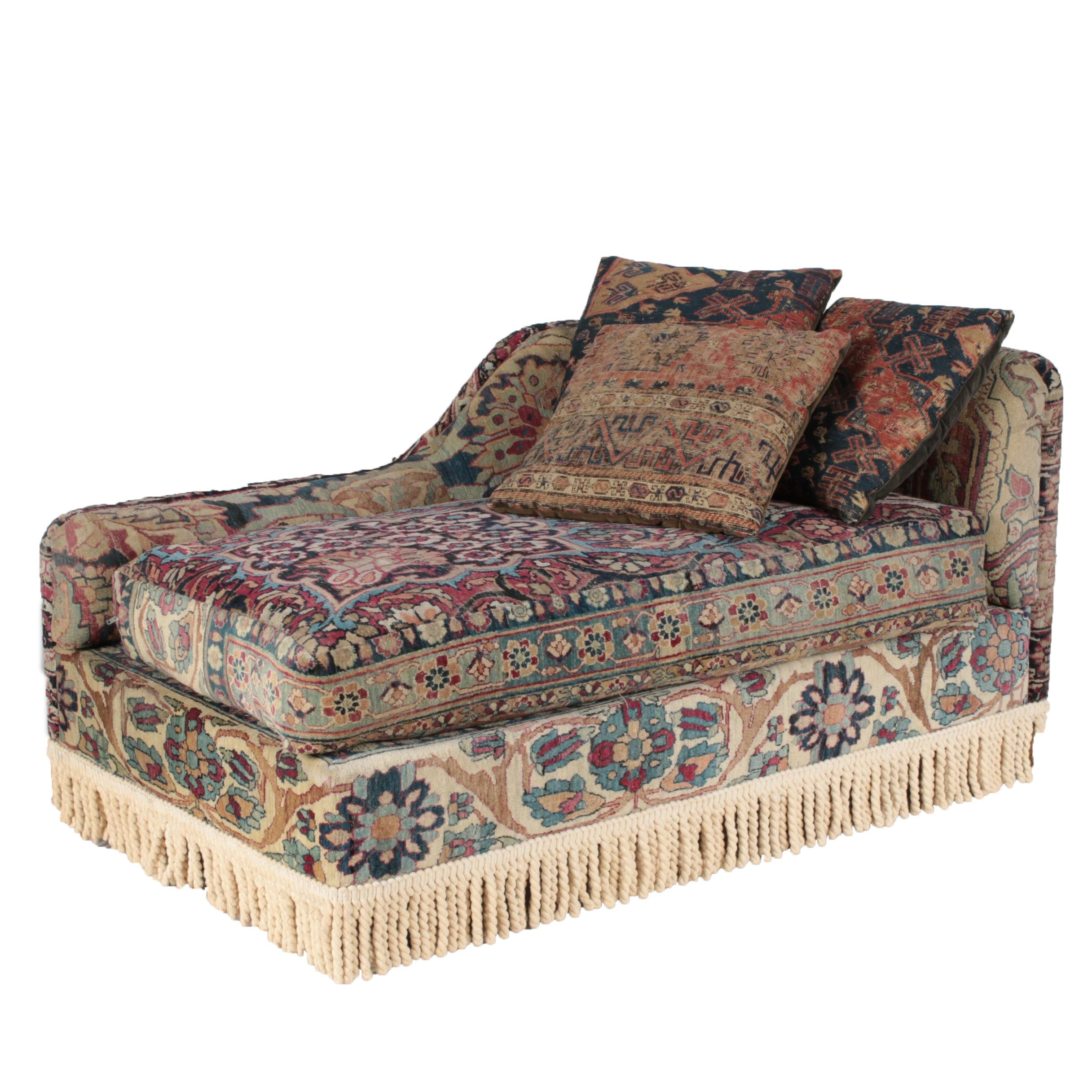 Custom Oushak-Upholstered Chaise Lounge by Seret & Sons of Santa Fe