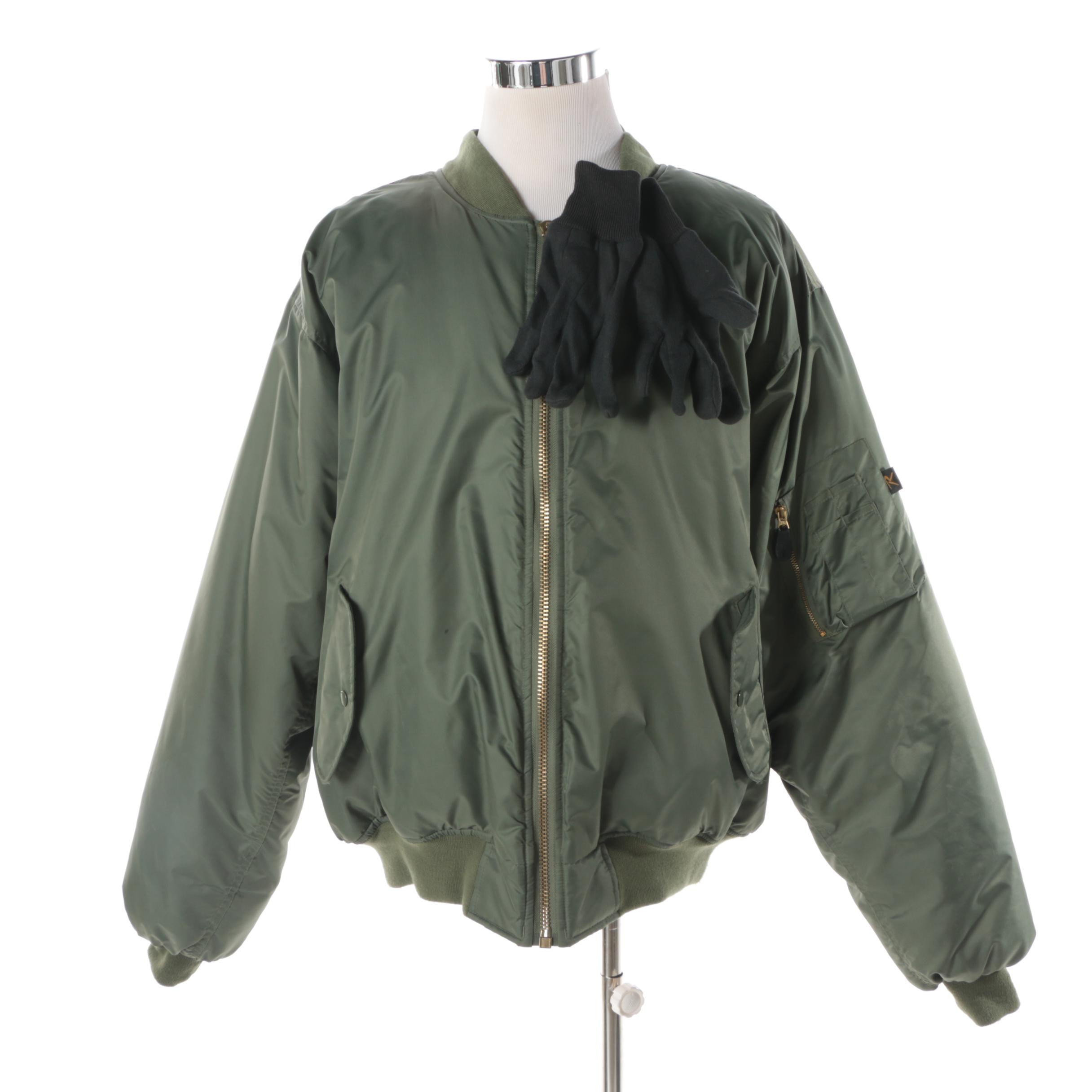Men's Rothco Ultra Force Green Bomber Style Jacket and Pair of Gloves