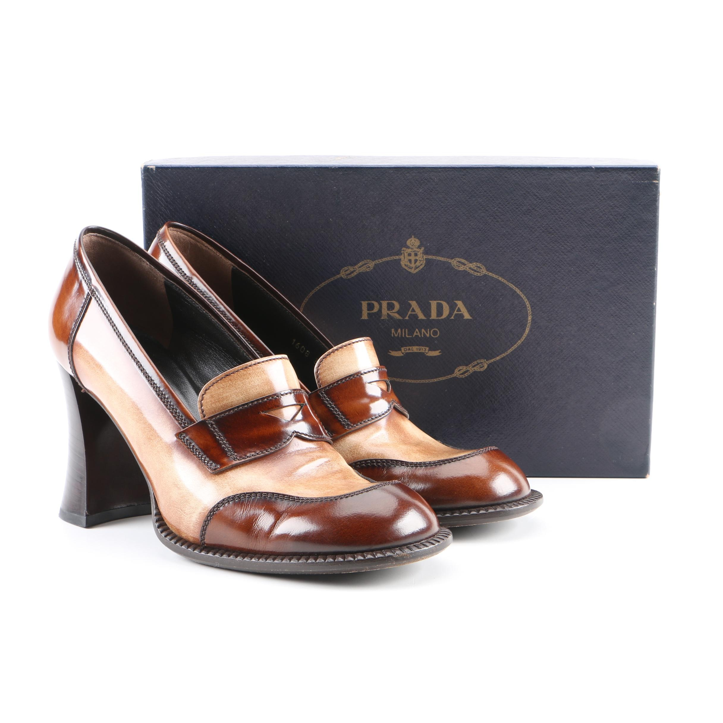 Women's Prada Brown and Tan Leather High-Heeled Loafers