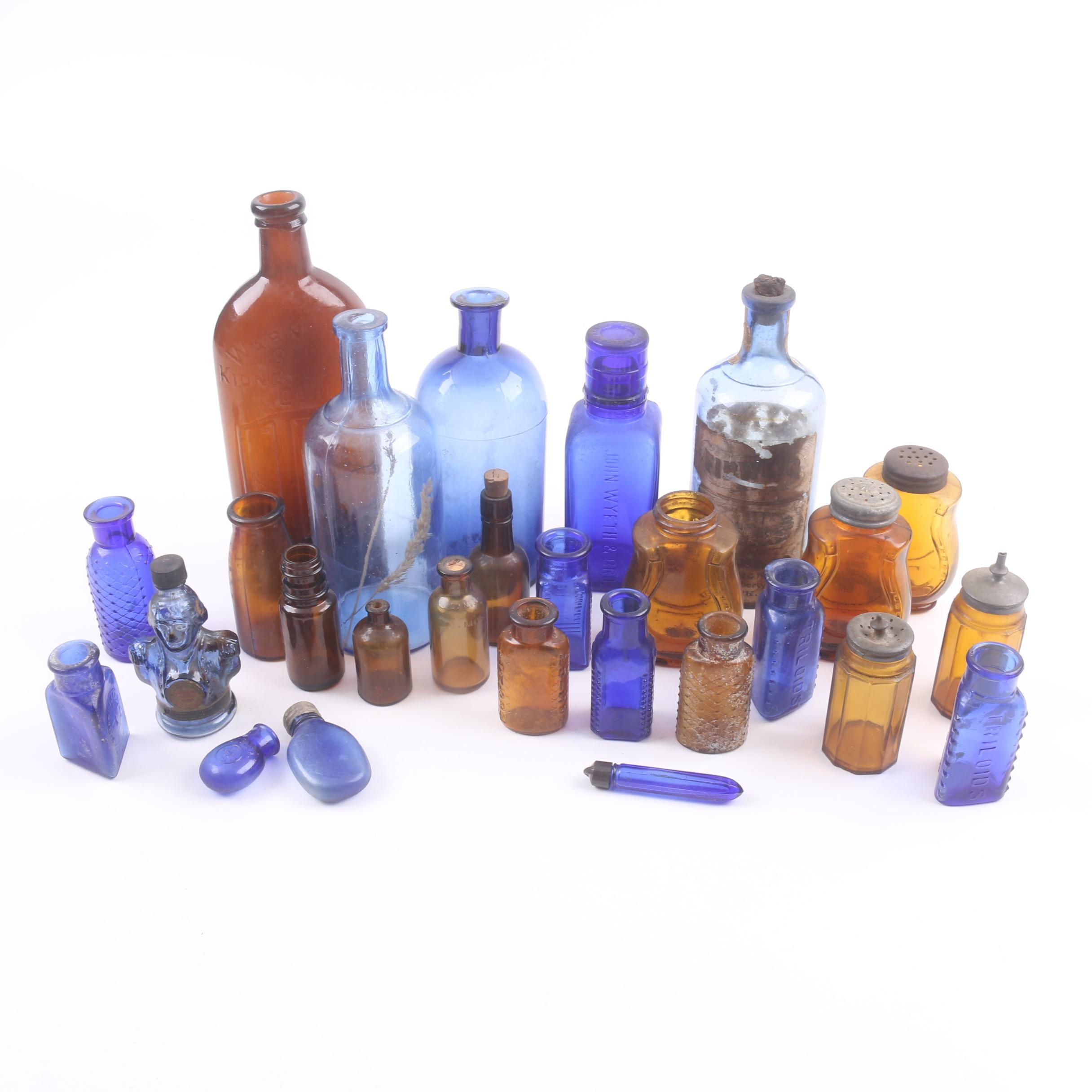 Antique Cobalt and Amber Glass Bottles and Vessels