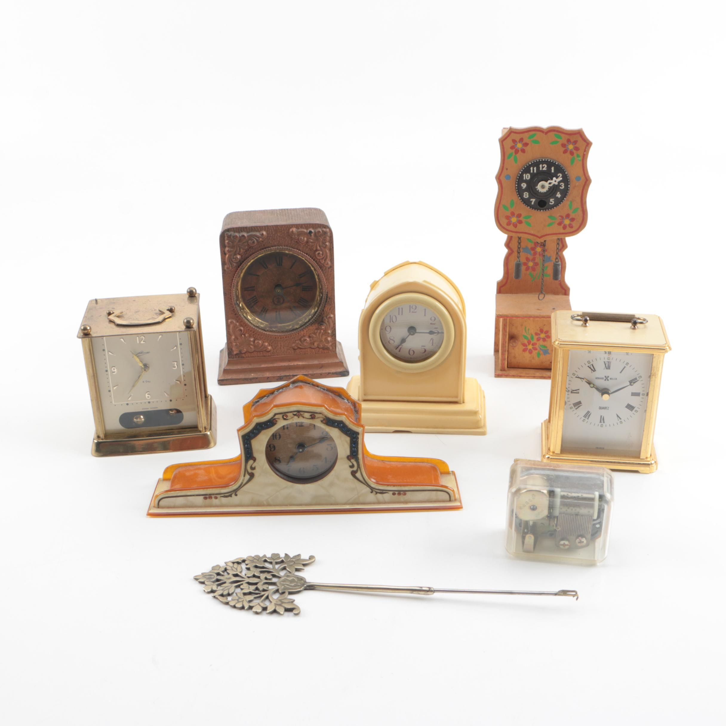 Vintage Shelf Clocks and Music Box