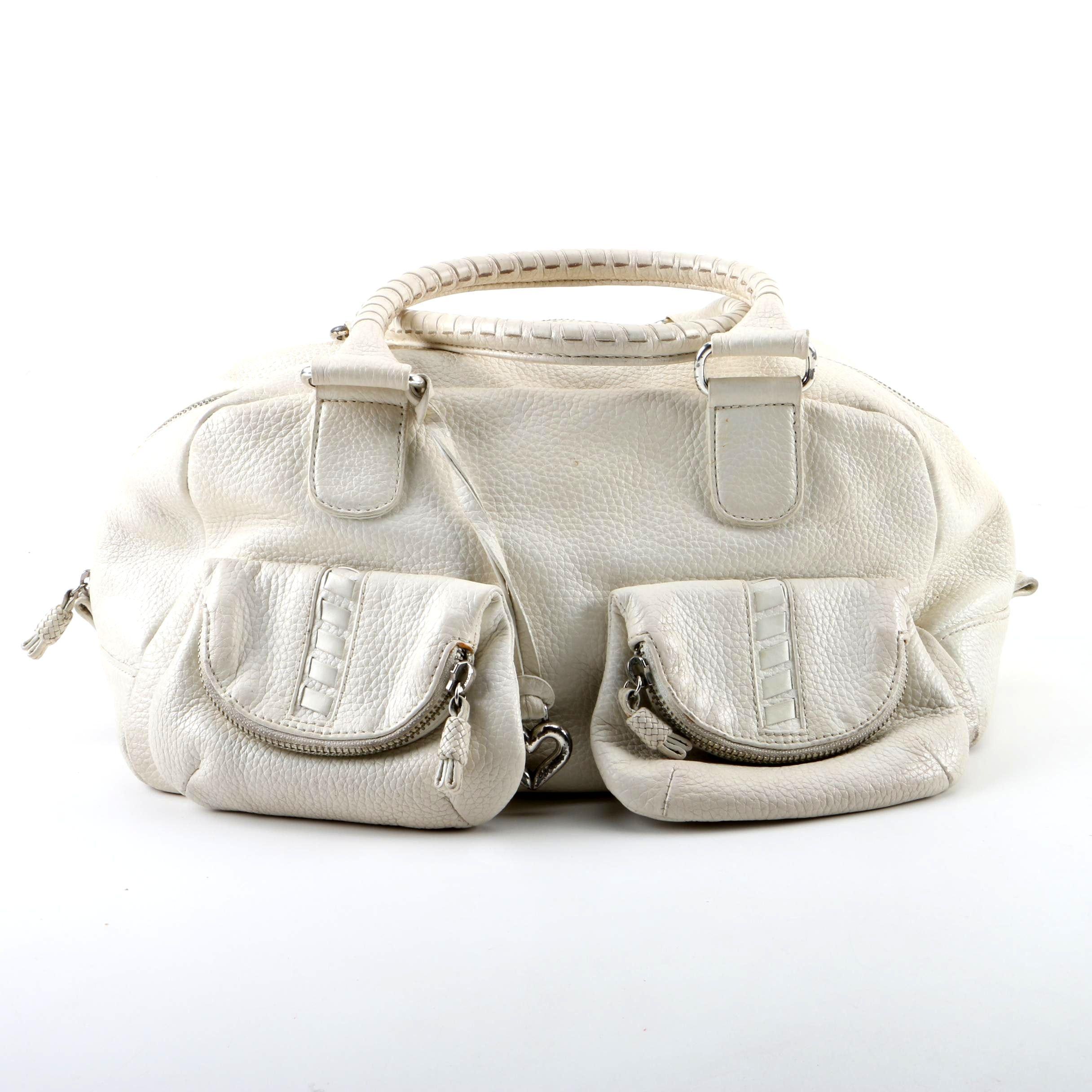 Brighton Off-White Pebbled Leather Satchel