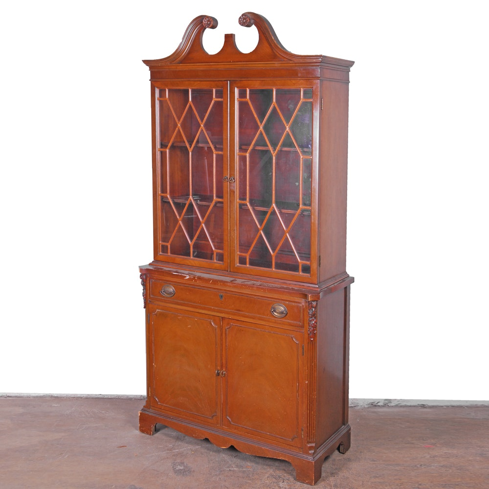 Federal Style Mahogany China Cabinet