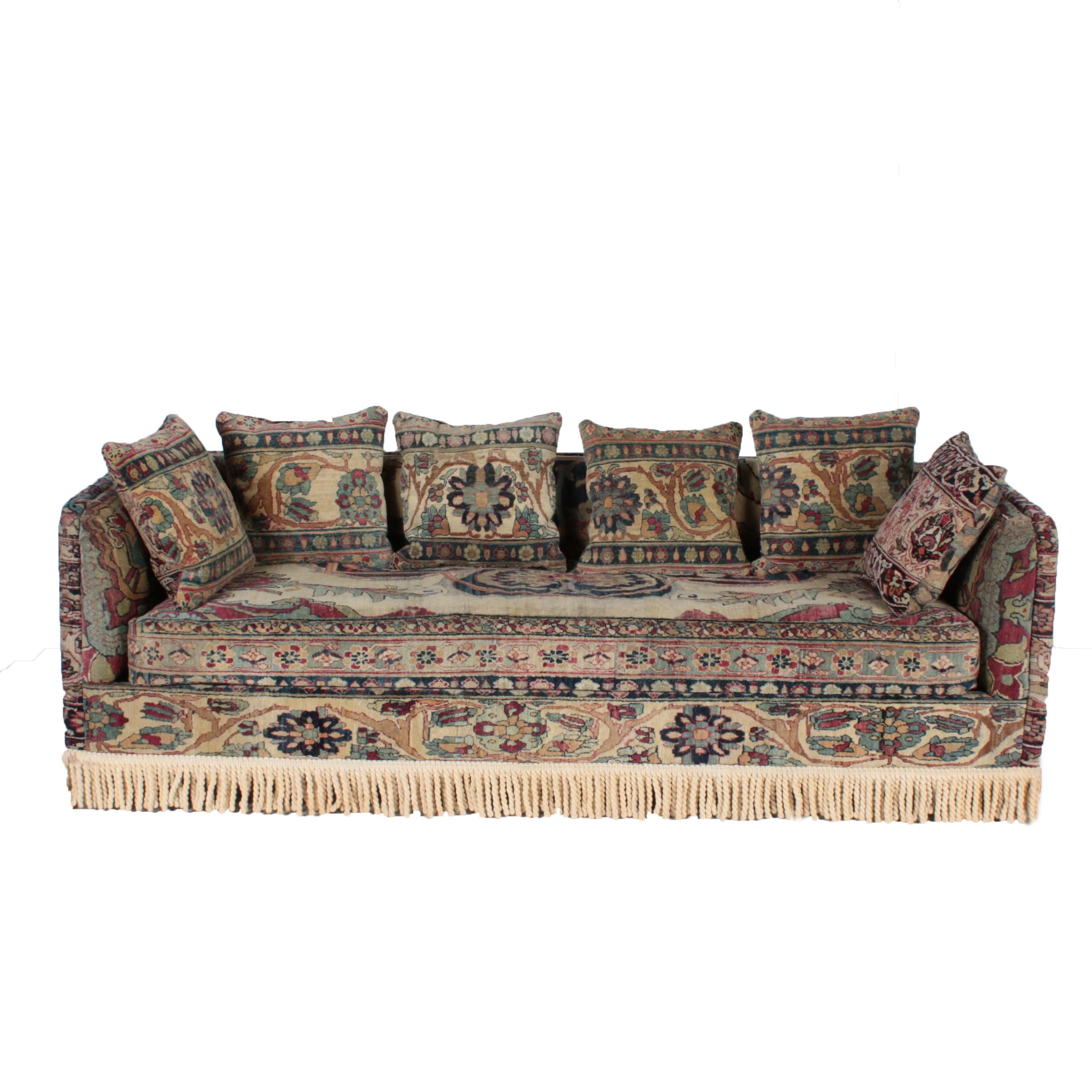 Custom Oushak-Upholstered Sofa by Seret & Sons of Santa Fe