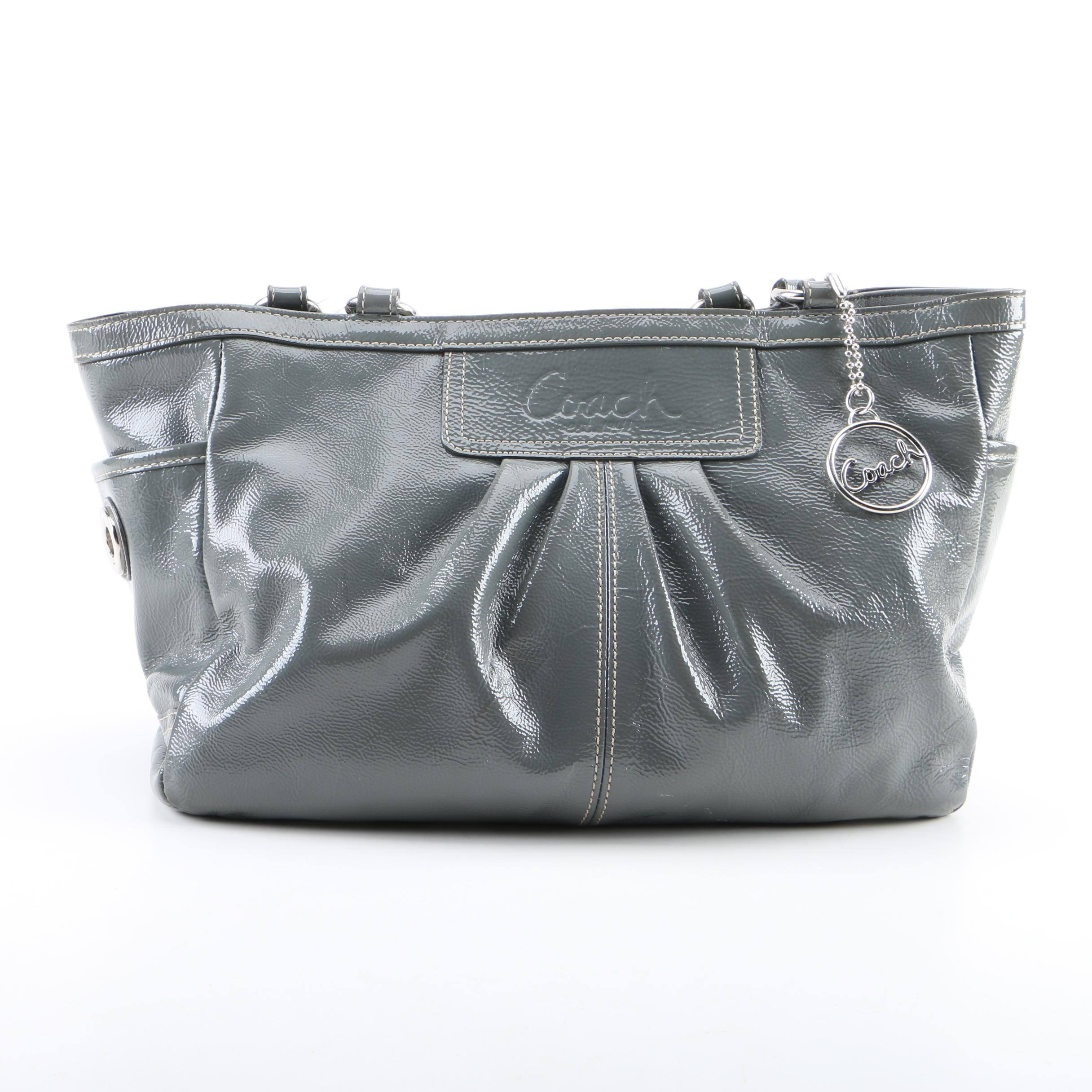 Coach Pleated East West Gallery Grey Patent Leather Tote