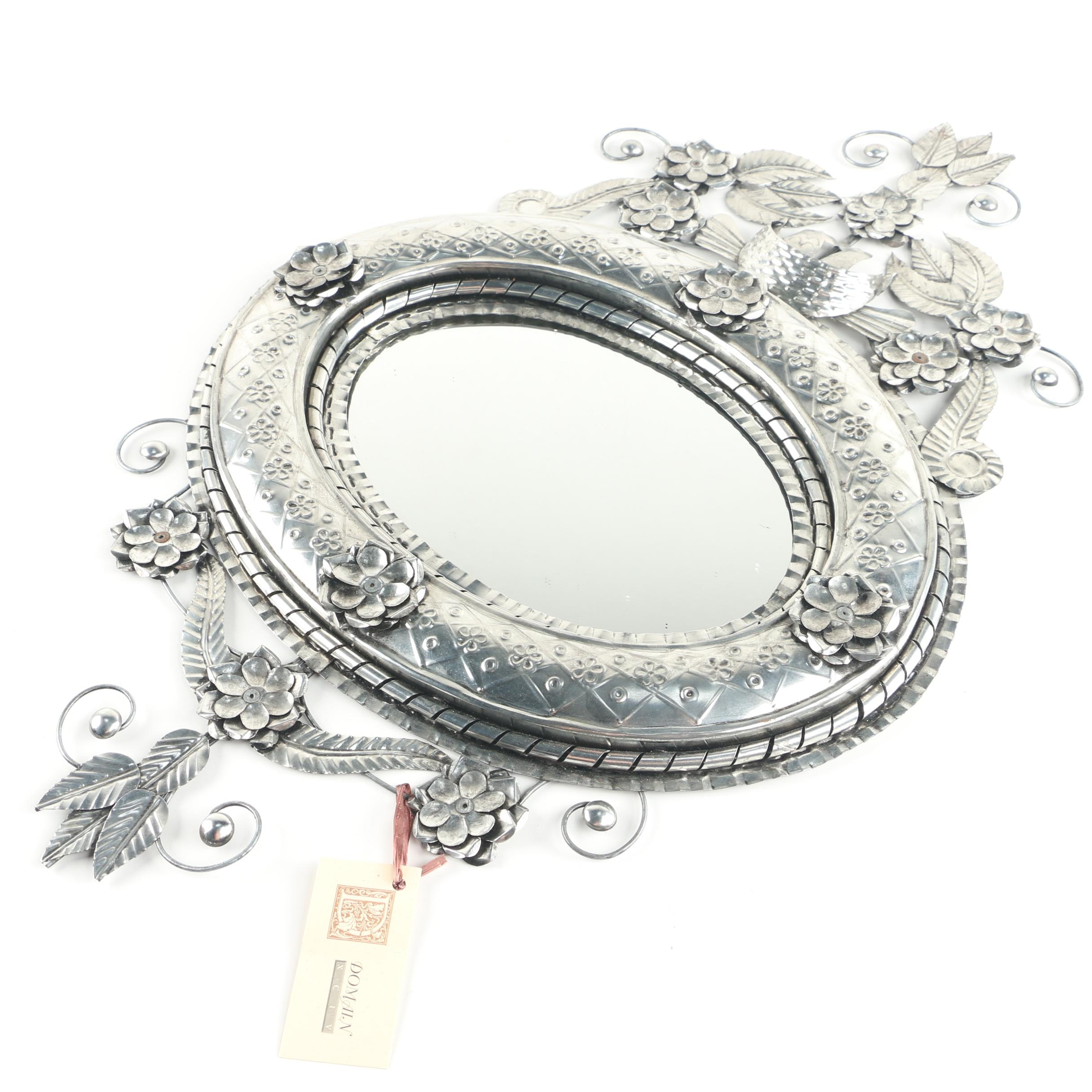 Ornate Domain Oval Silver Tone Tole Wall Hanging Mirror with Floral Scroll Motif
