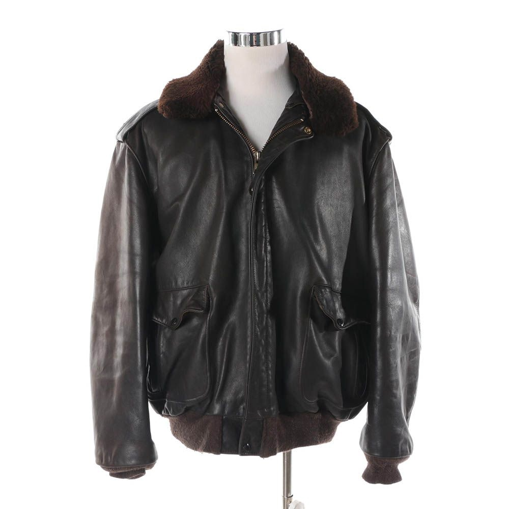 Men's Vintage Schott Brown Leather Bomber Jacket with Faux Fur Collar