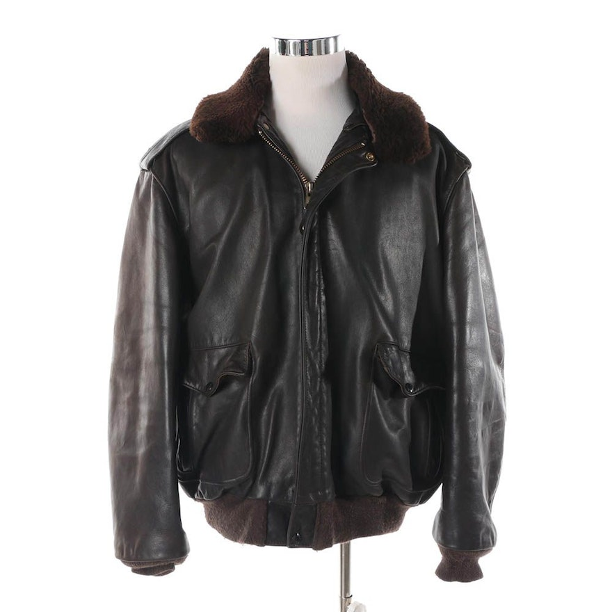 921479349c4a Men s Vintage Schott Brown Leather Bomber Jacket with Faux Fur Collar   EBTH