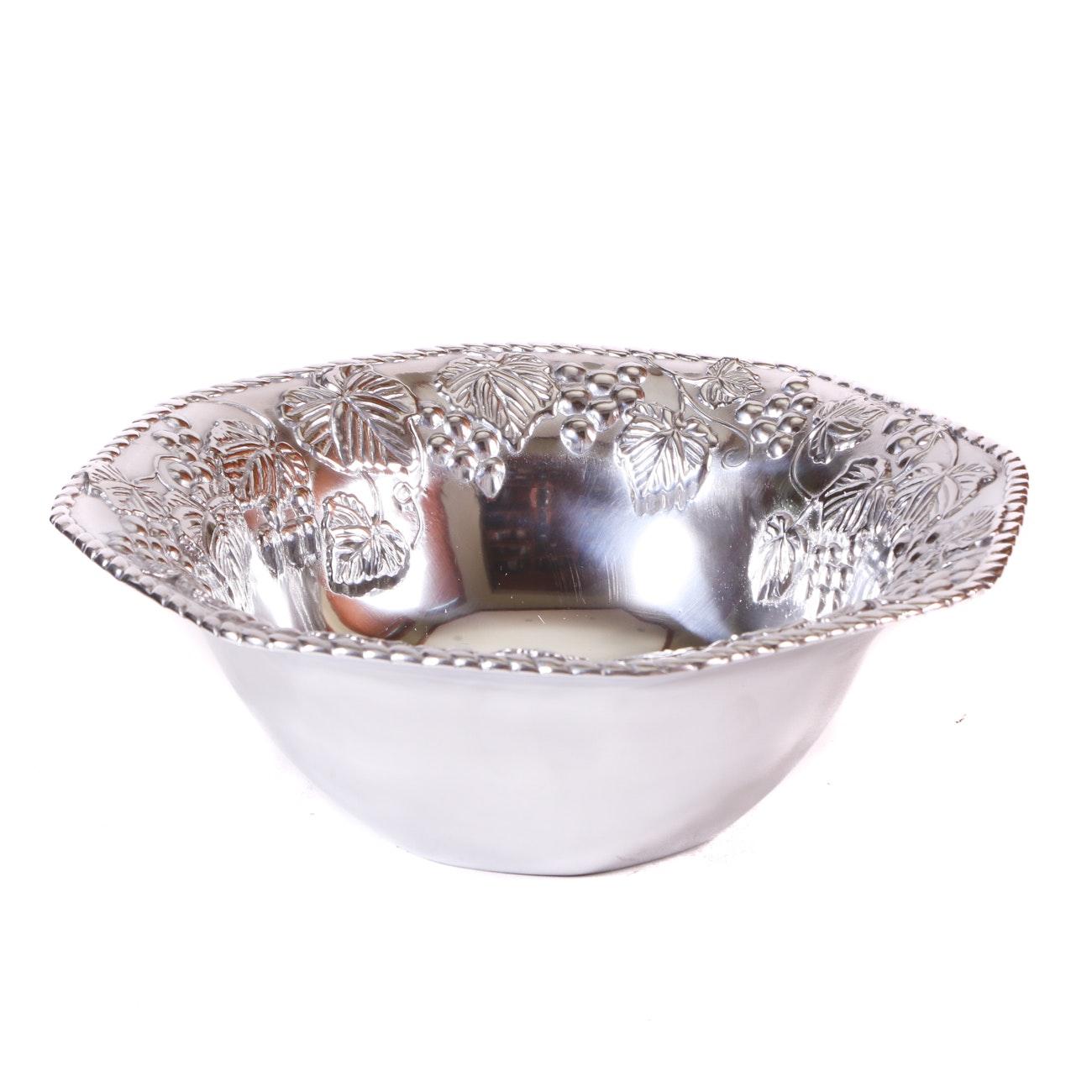 """Lenox Aluminum """"Grape Weave"""" Holloware Bowl"""
