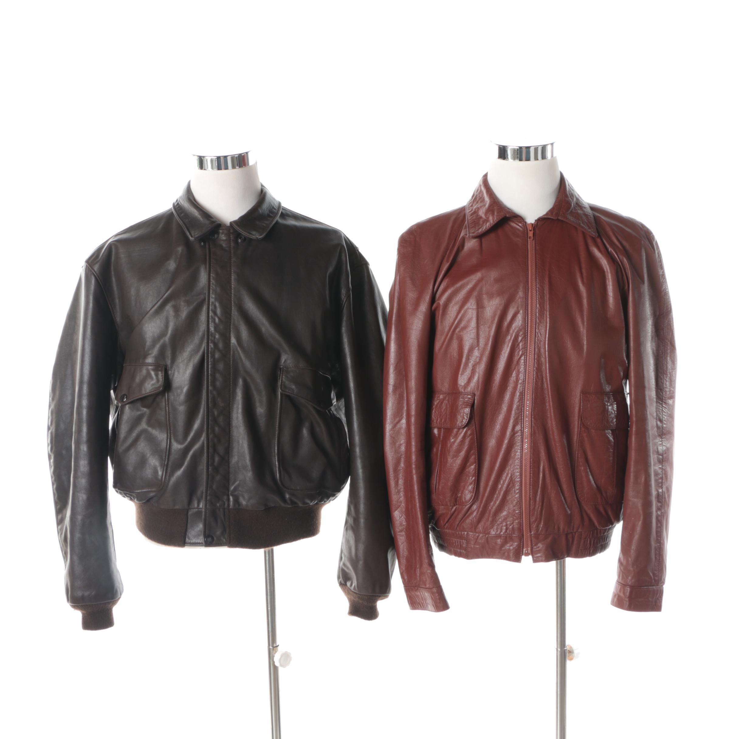 Men's Vintage Leather Bomber Jackets Including Schott