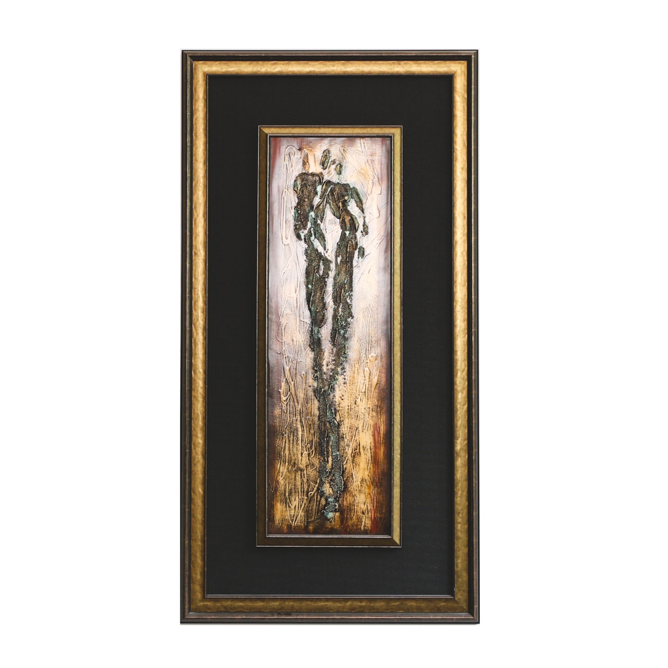 Textured Painting of Two Human Figures