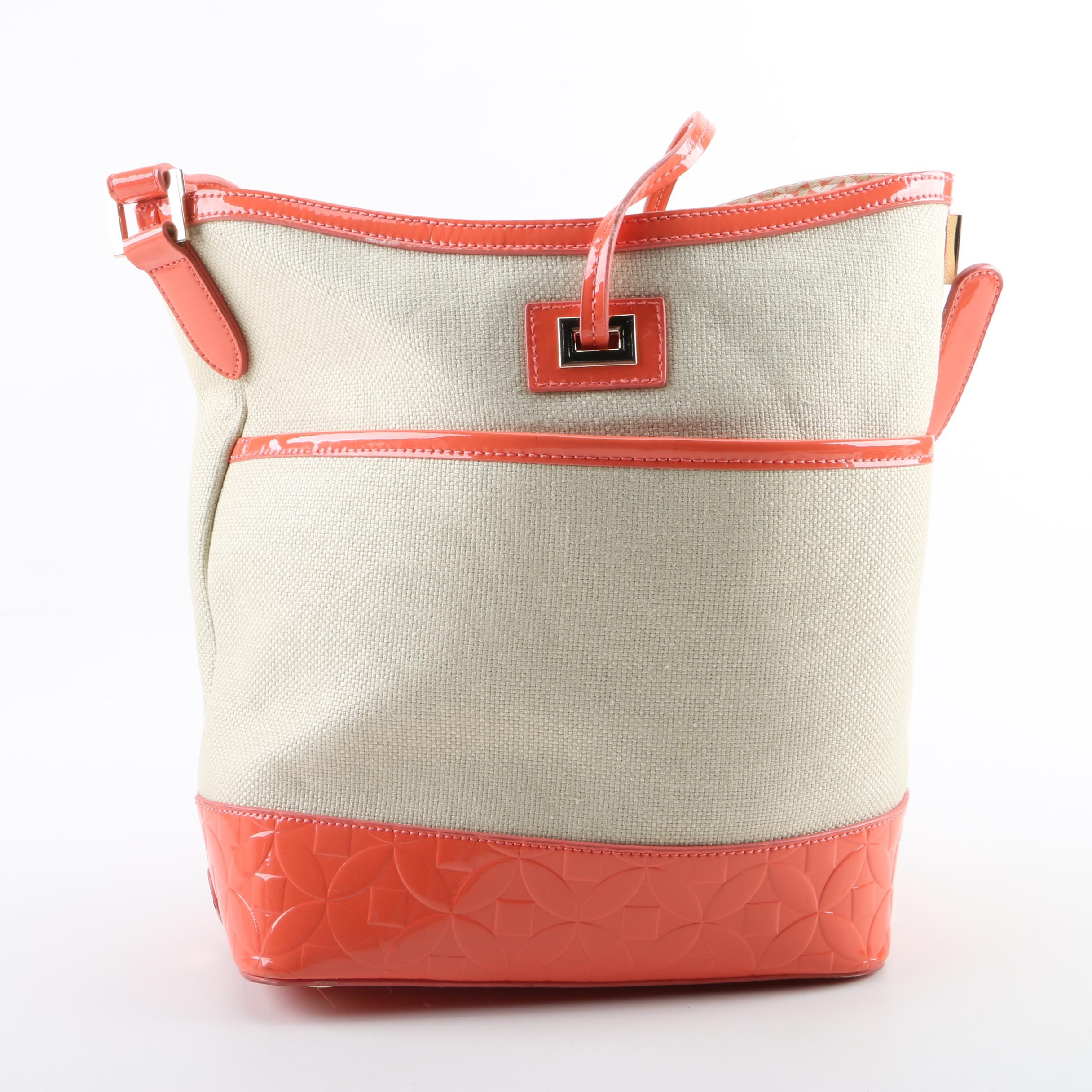 Spartina 449 Beige Canvas and Orange Patent Leather Bucket Bag