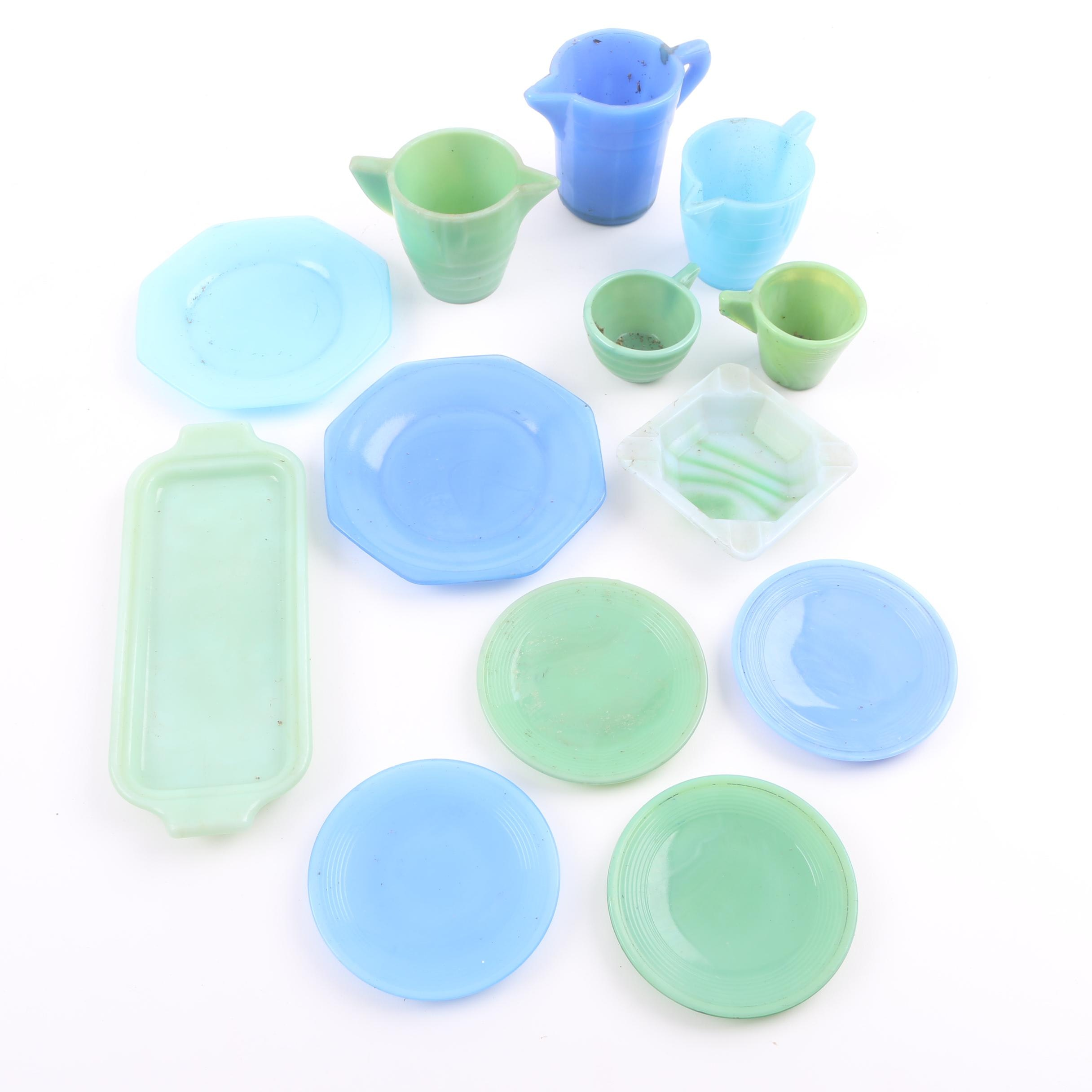 Opaque Glass Tableware Including Fire King Jadeite Glass
