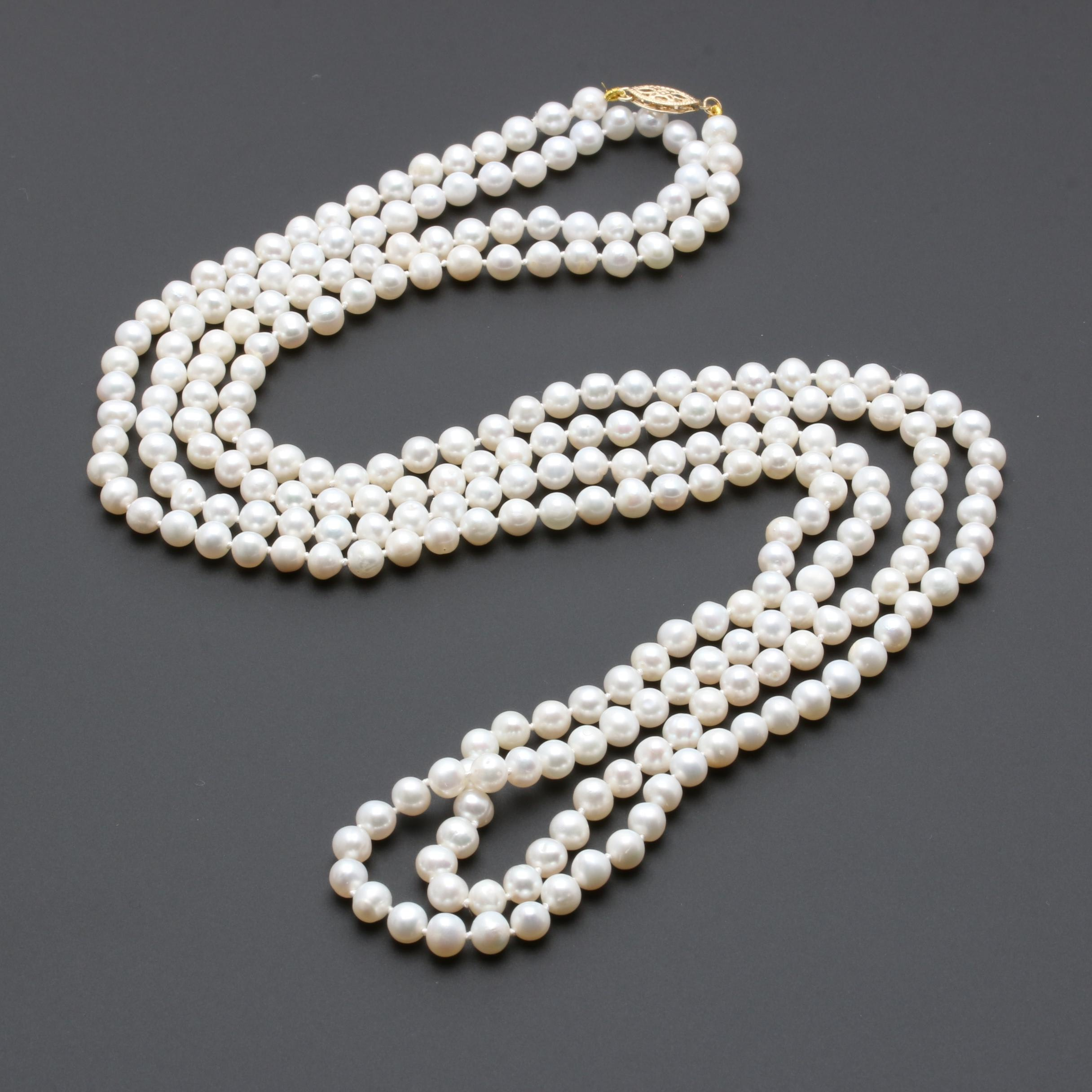 14K Yellow Gold Cultured Pearl Endless Strand Necklace