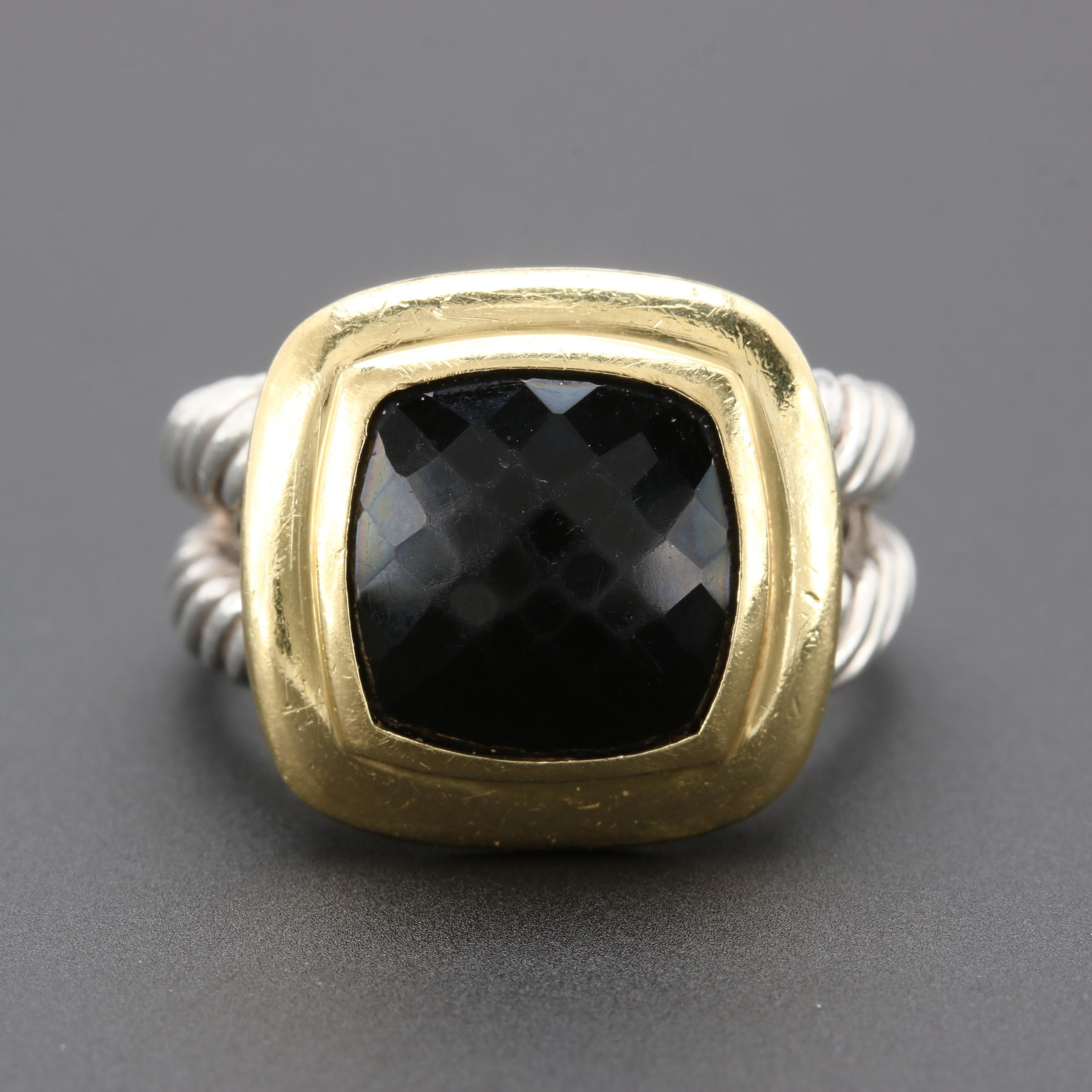 "David Yurman ""Albion Collection"" Sterling Silver and 18K Yellow Gold Onyx Ring"