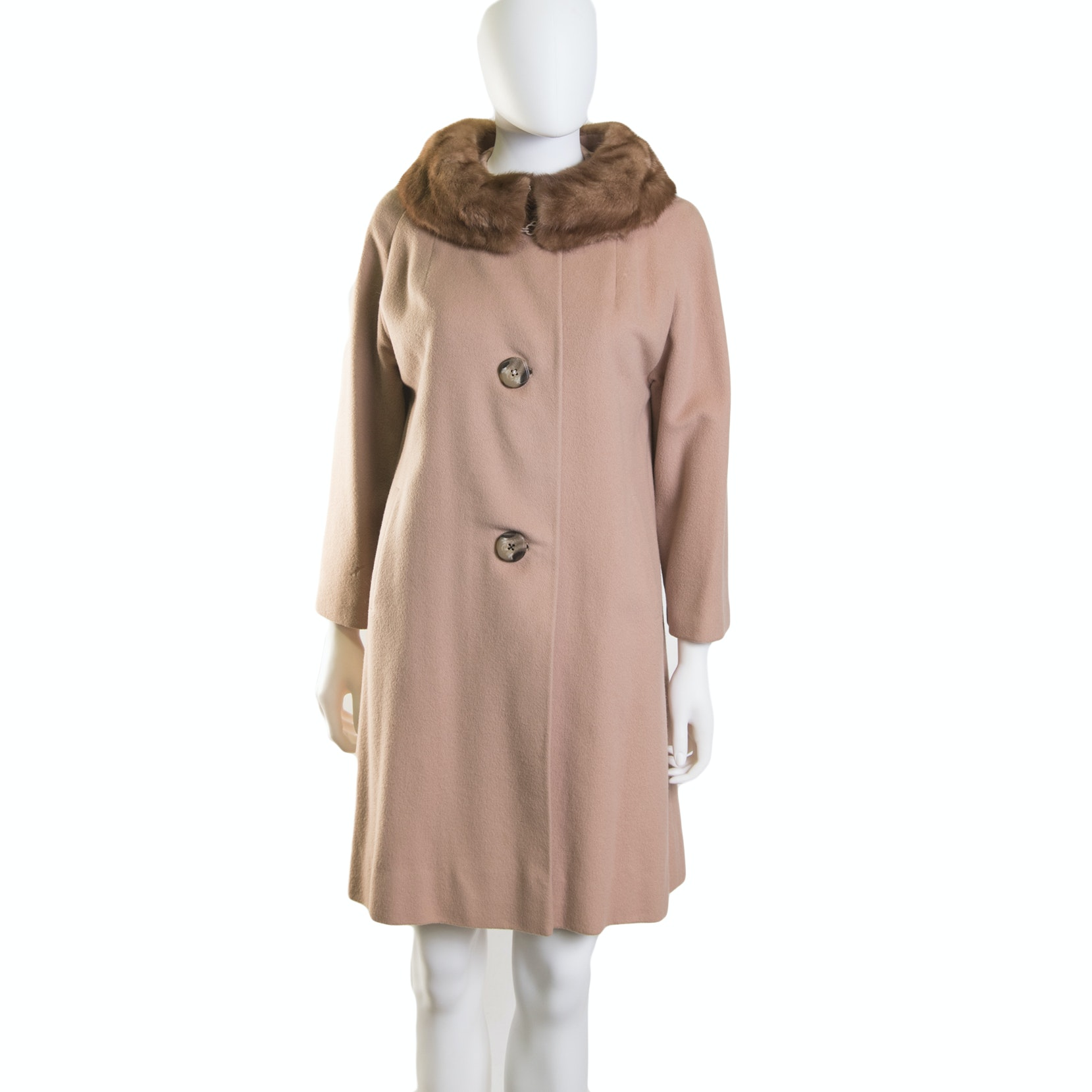 Women's Vintage Cashmere Dress Coat with Mink Collar