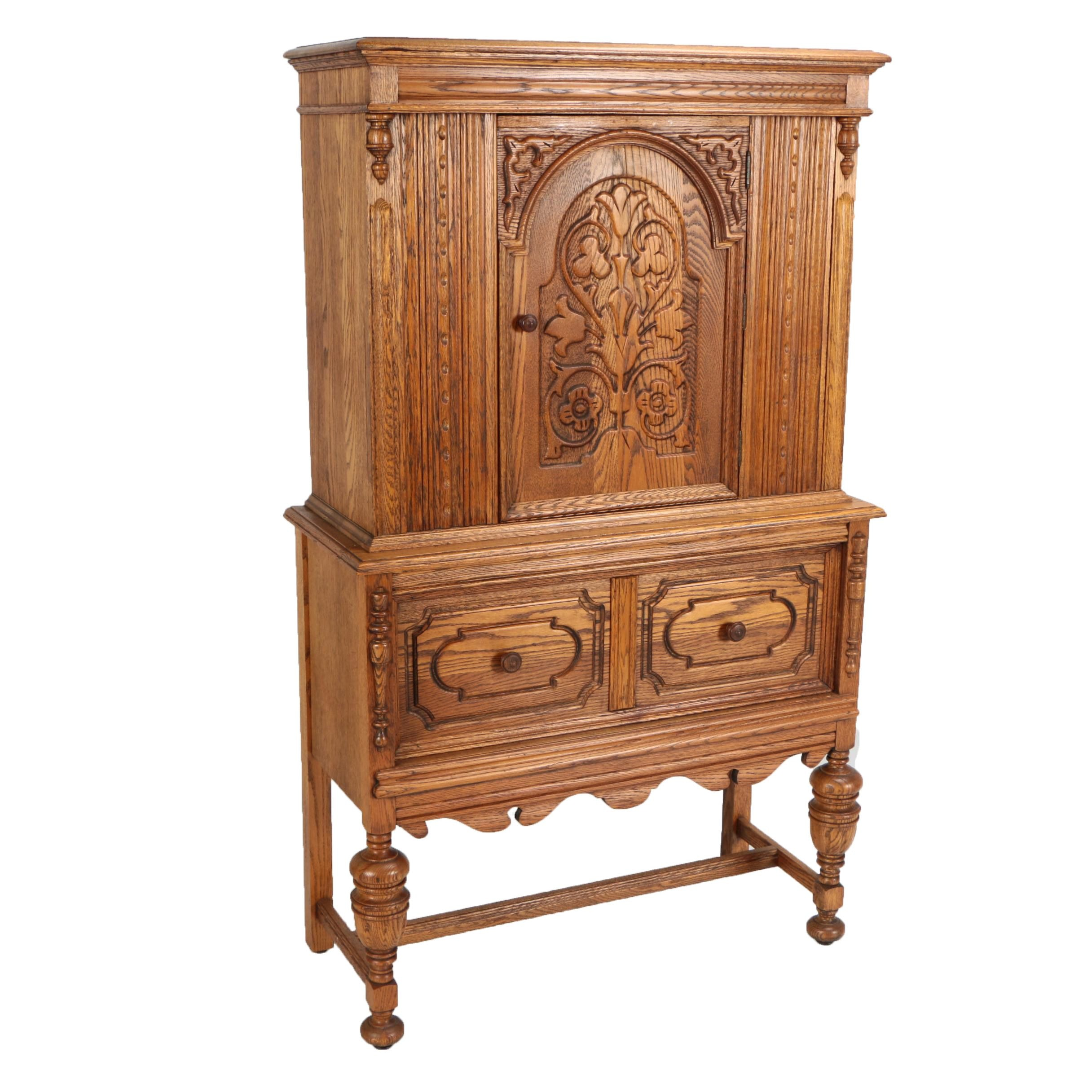 Jacobean Style Oak Highboy Hutch