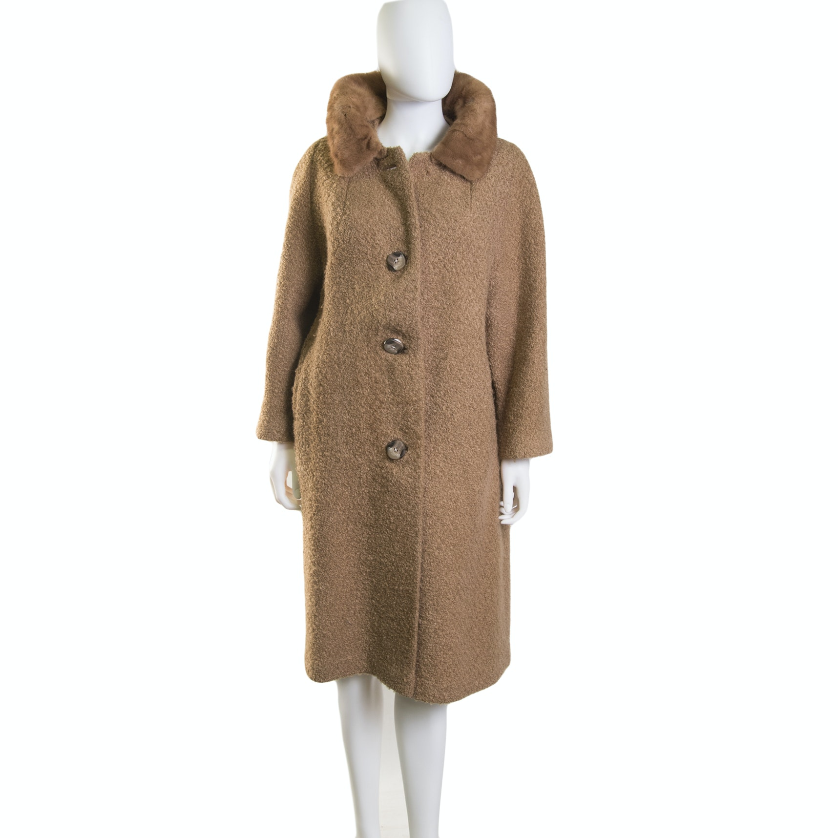 Women's Vintage Bouclé Dress Coat with Mink Collar
