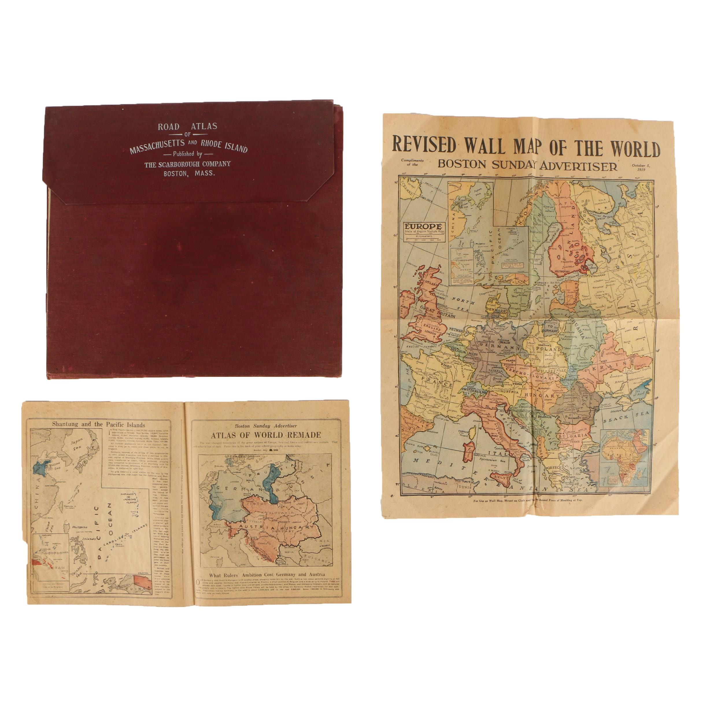 1905 Road Atlas of Massachusetts and Rhode Island and 1919 Maps of Europe