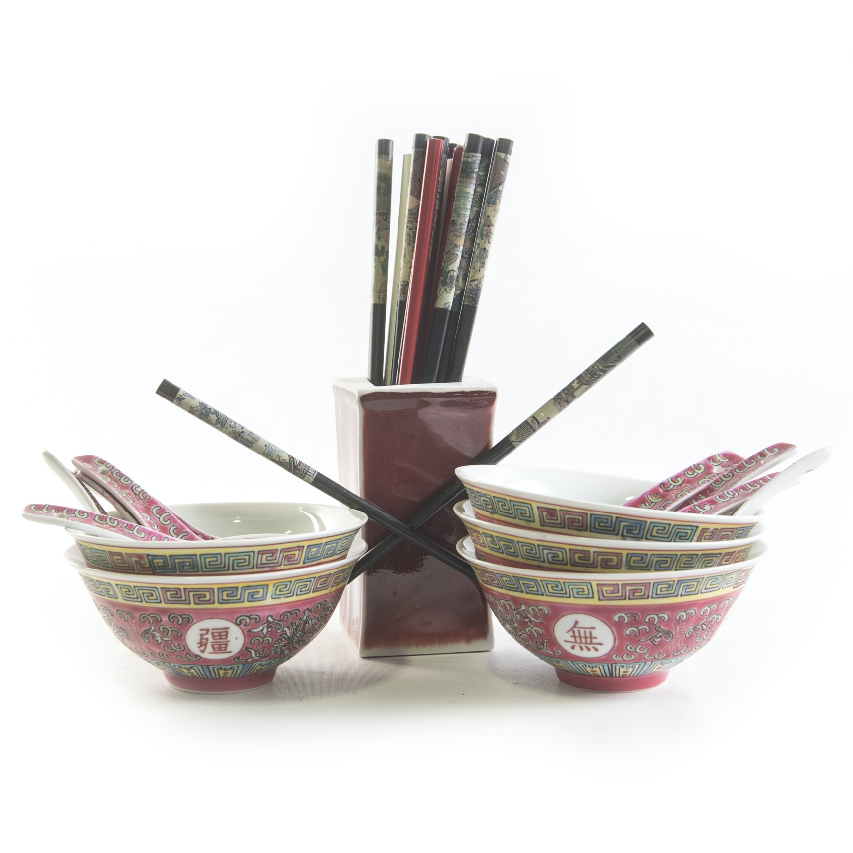 Chinese Ceramic Bowls, Spoons, and an Assortment of Chopsticks