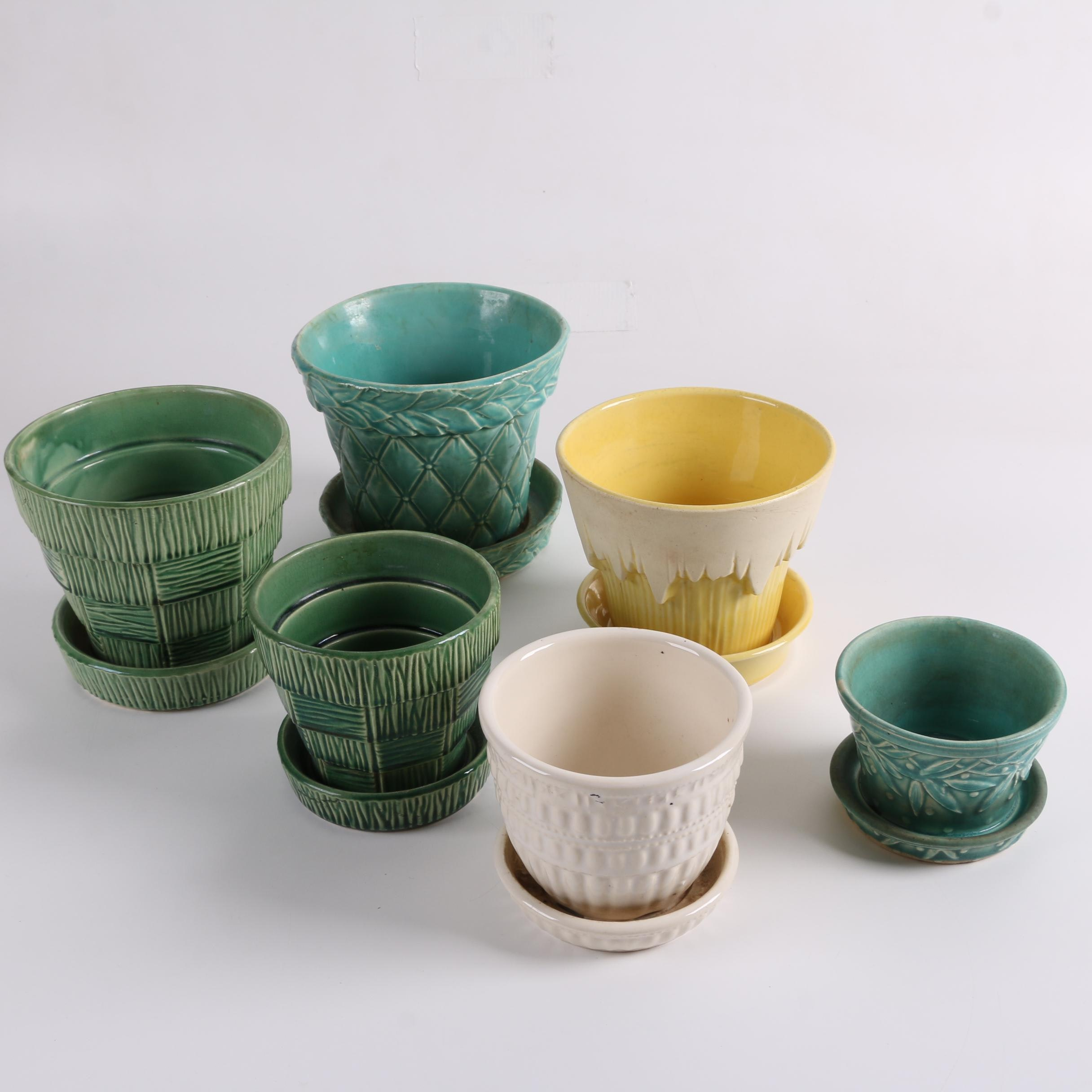 """Mid-Century McCoy Pottery Planters Including """"Basketweave"""""""