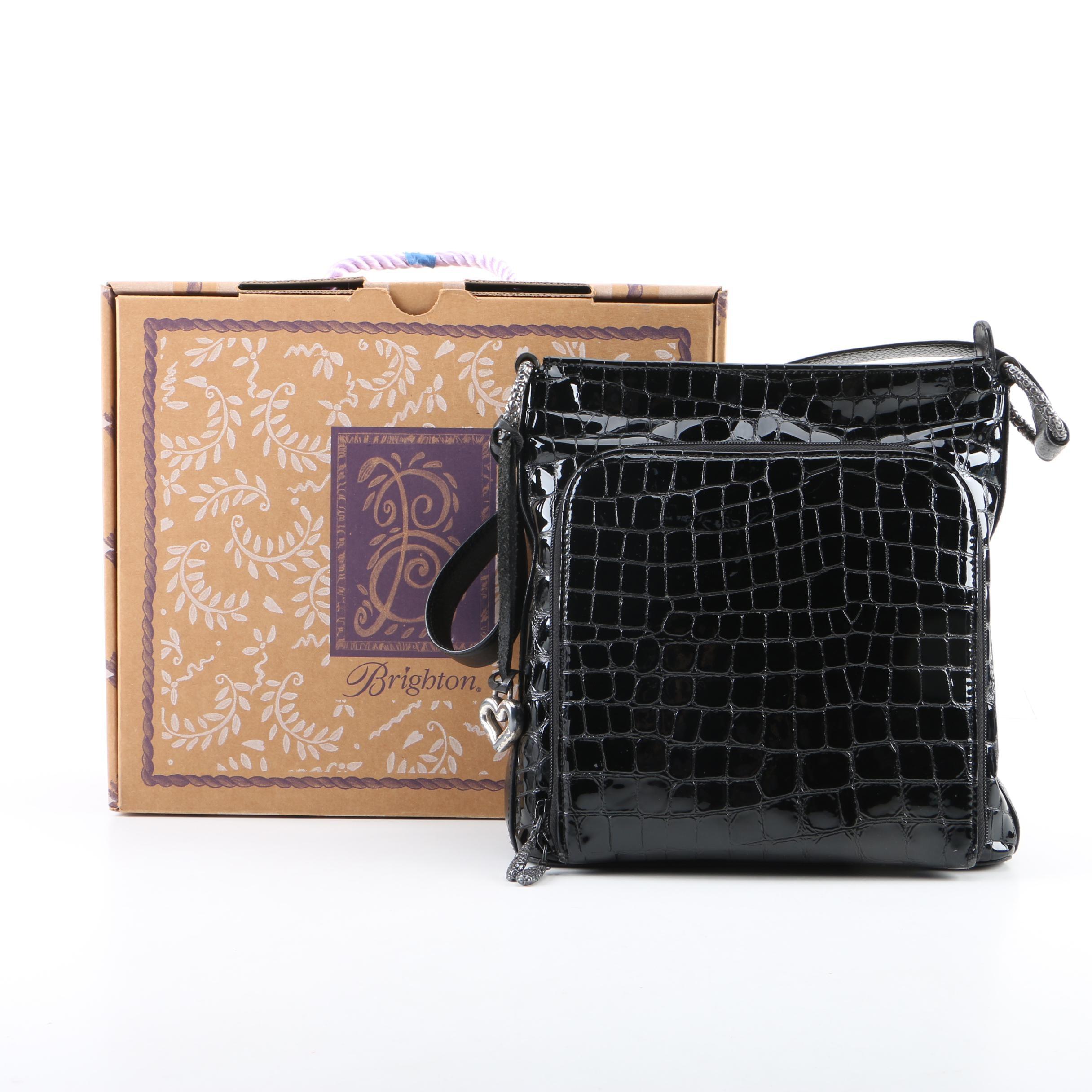 Brighton Embossed Black Patent Leather Shoulder Bag