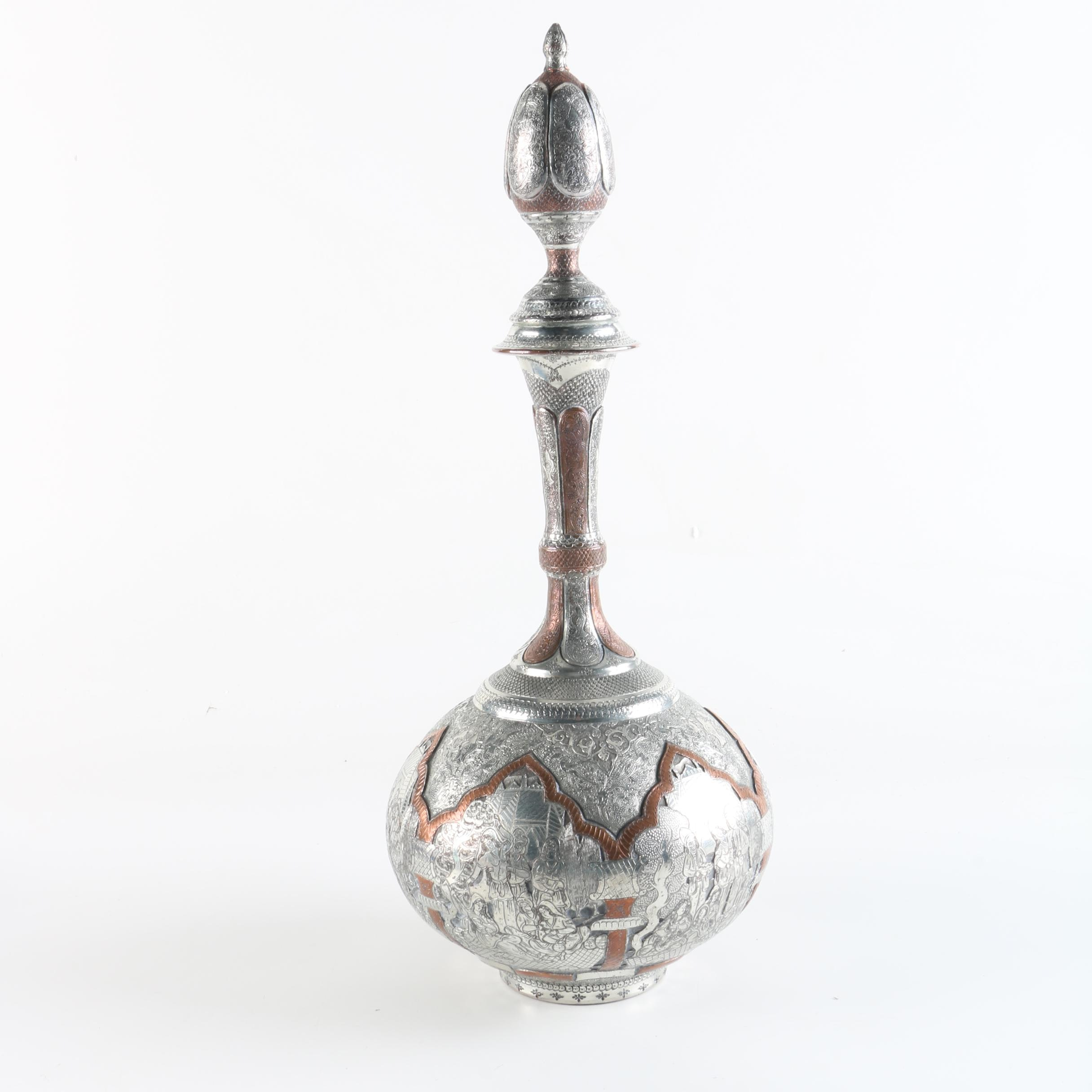 Persian Style Silver and Copper-Tone Stoppered Bottle
