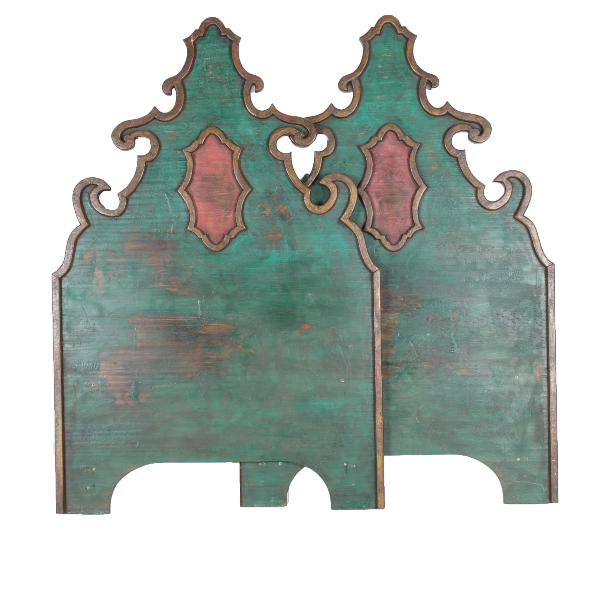 Pair of Spanish Colonial Style Twin Size Wooden Headboards
