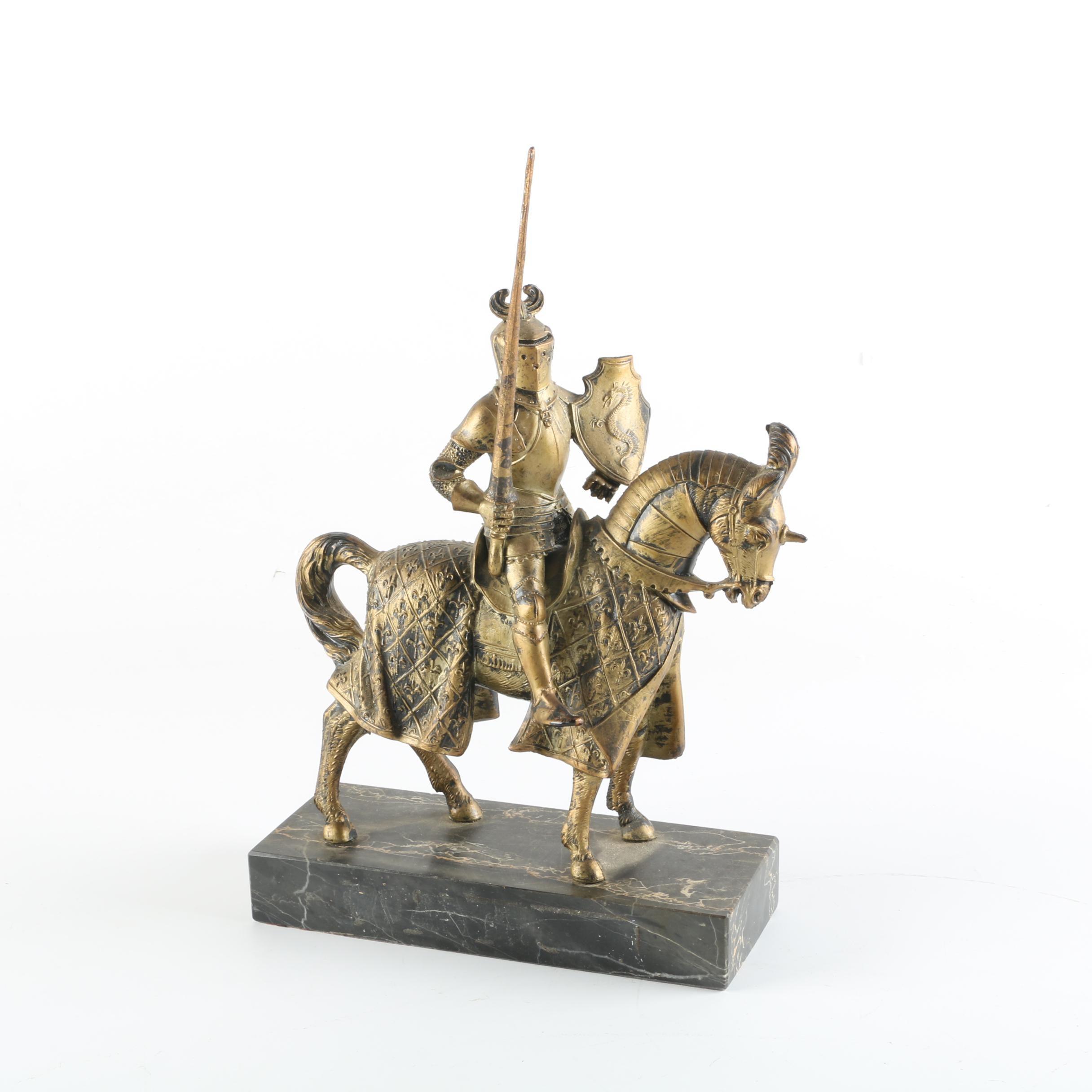 Depose Italy Knight Figurine on Marble Base