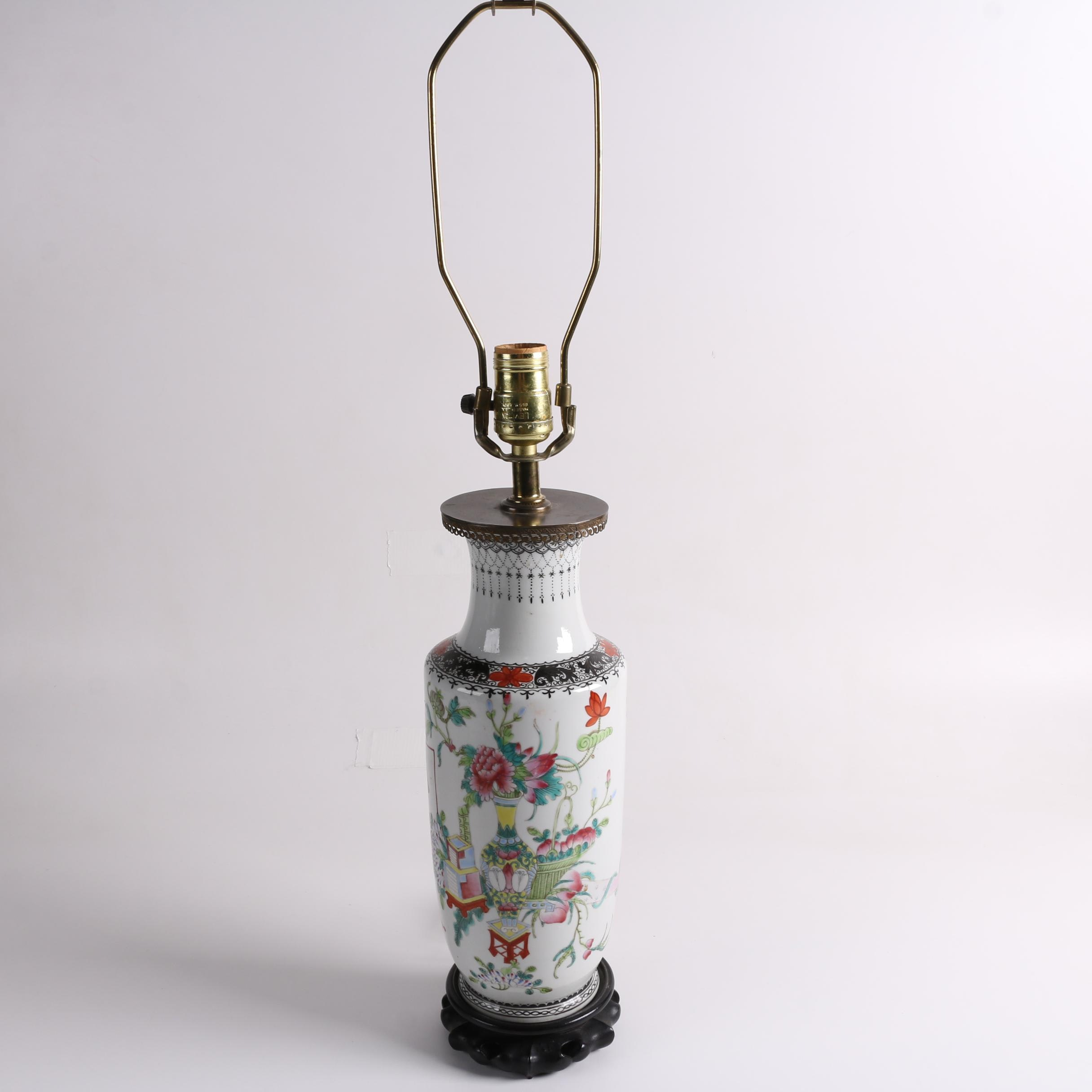 Chinese Hand-Painted Ceramic Vase Shaped Table Lamp