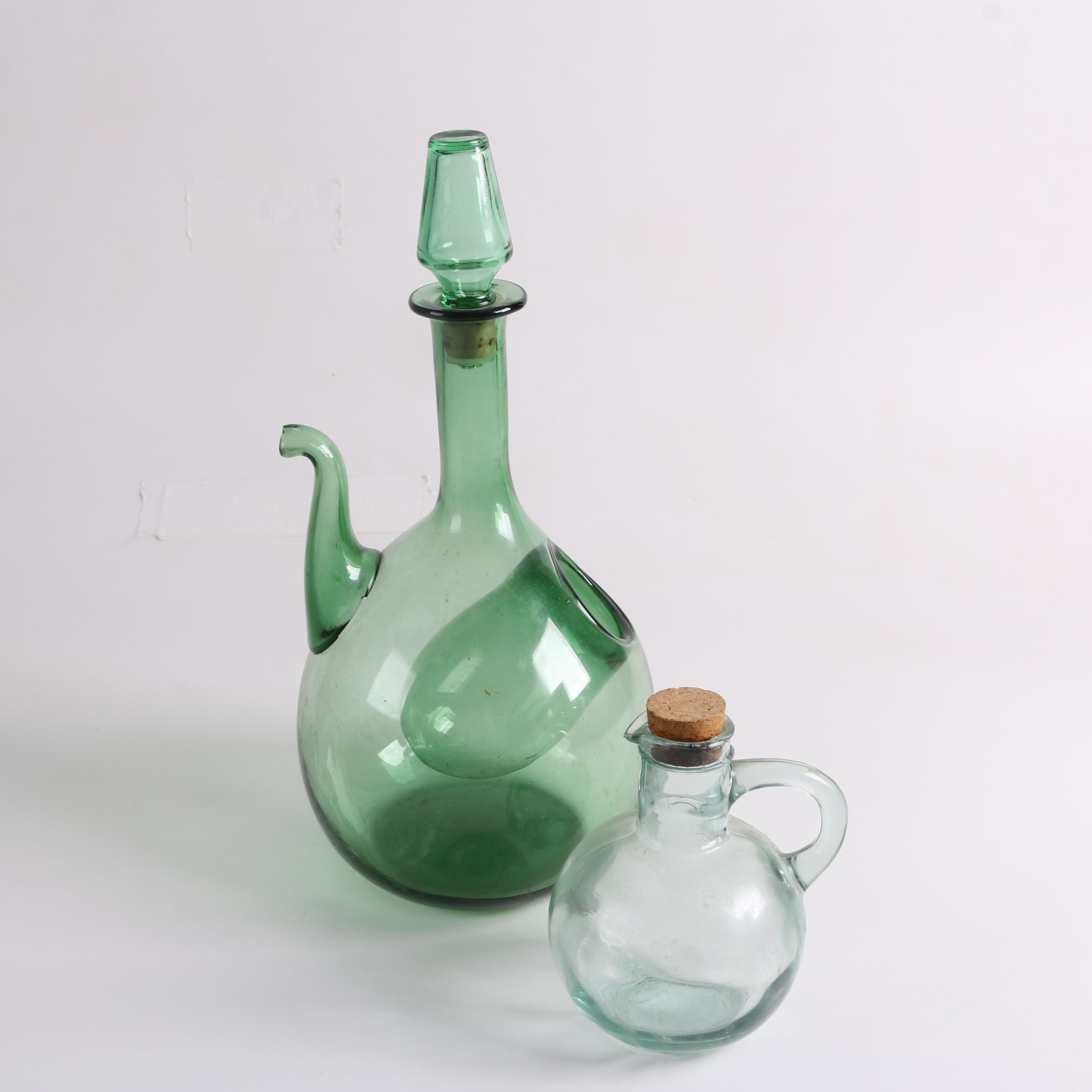 Green Blown Glass Wine Decanter and Blue Glass Jug with Stoppers