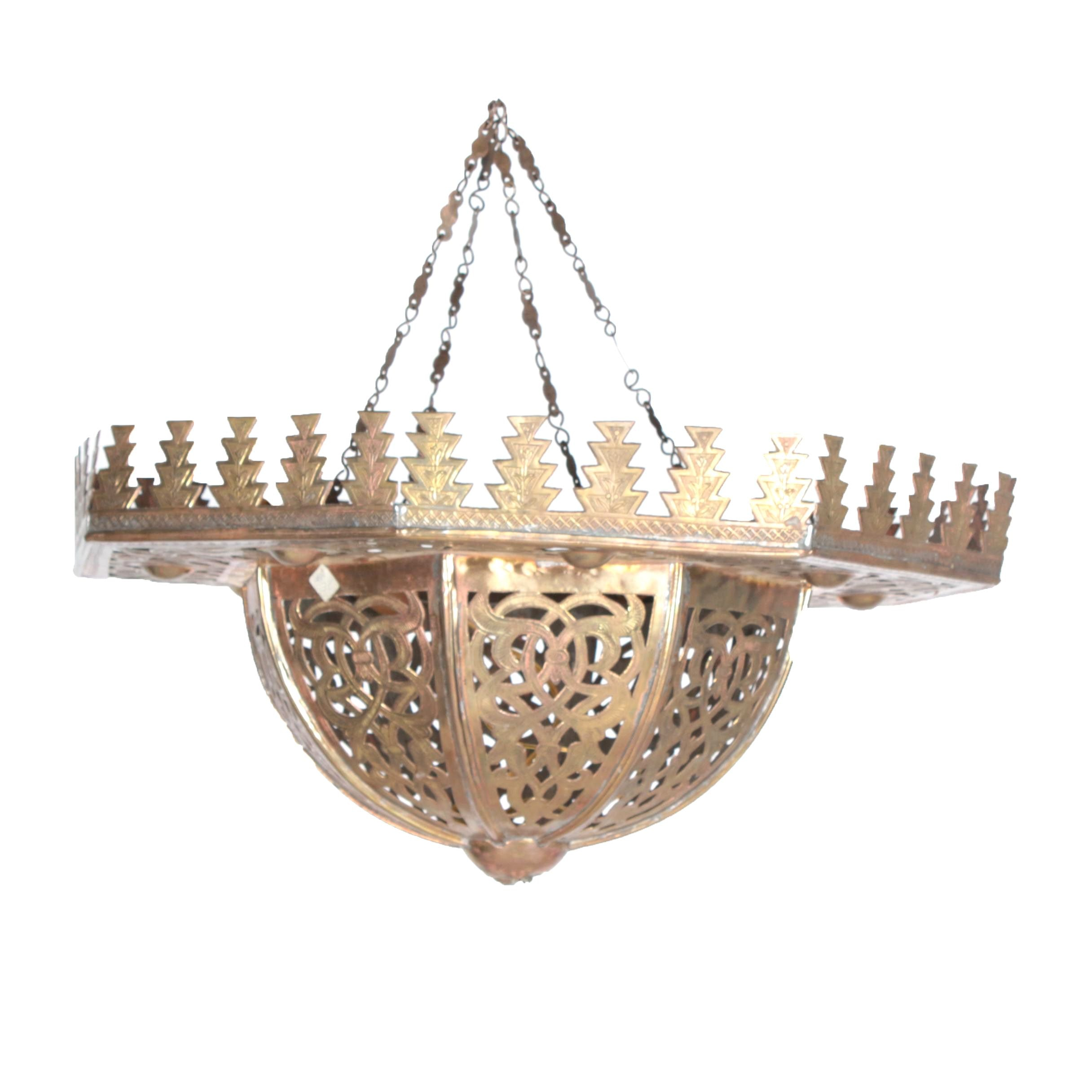Moroccan Style Reticulated Brass Ceiling Chandelier