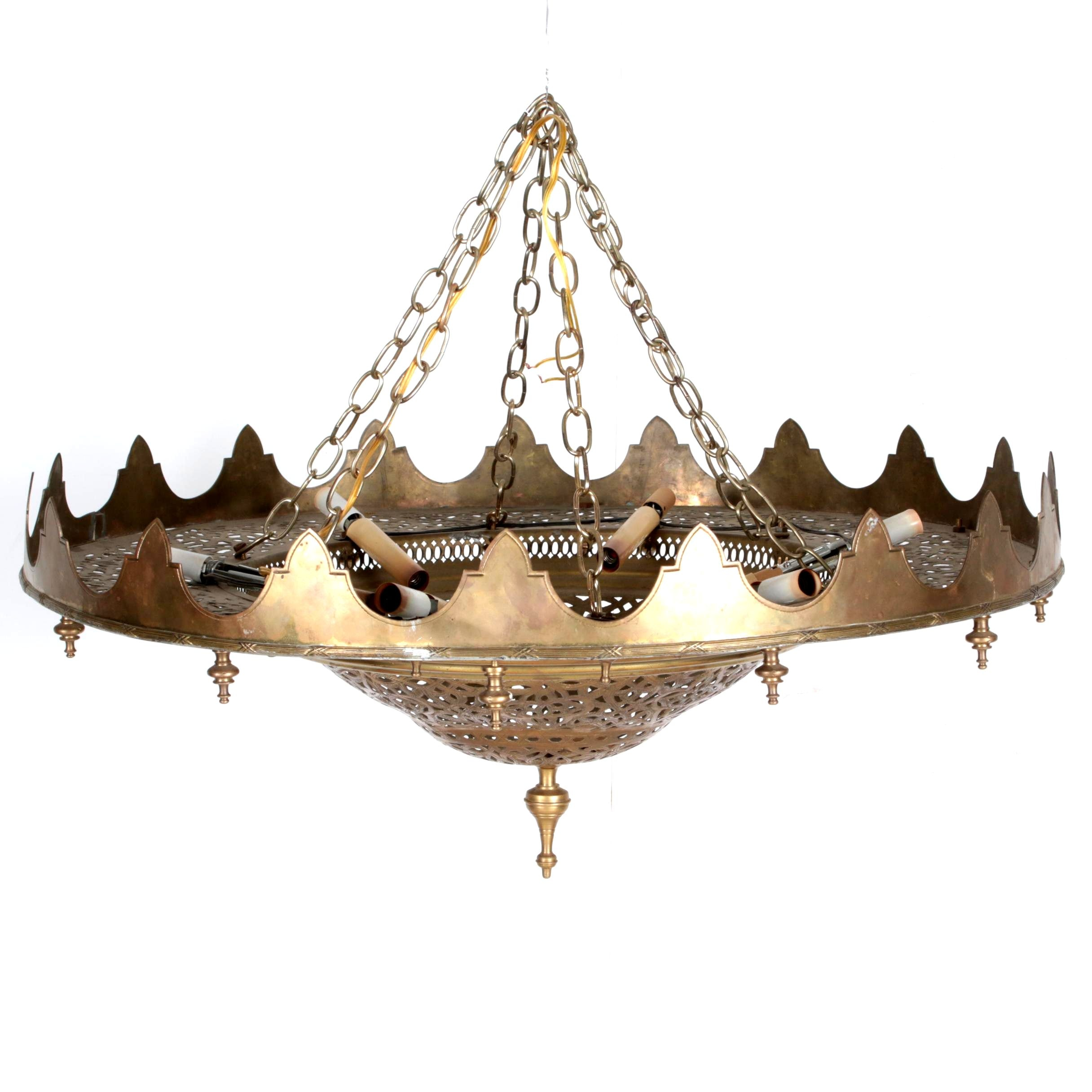 Moroccan Style Reticulated Brass Ceiling Mount Chandelier