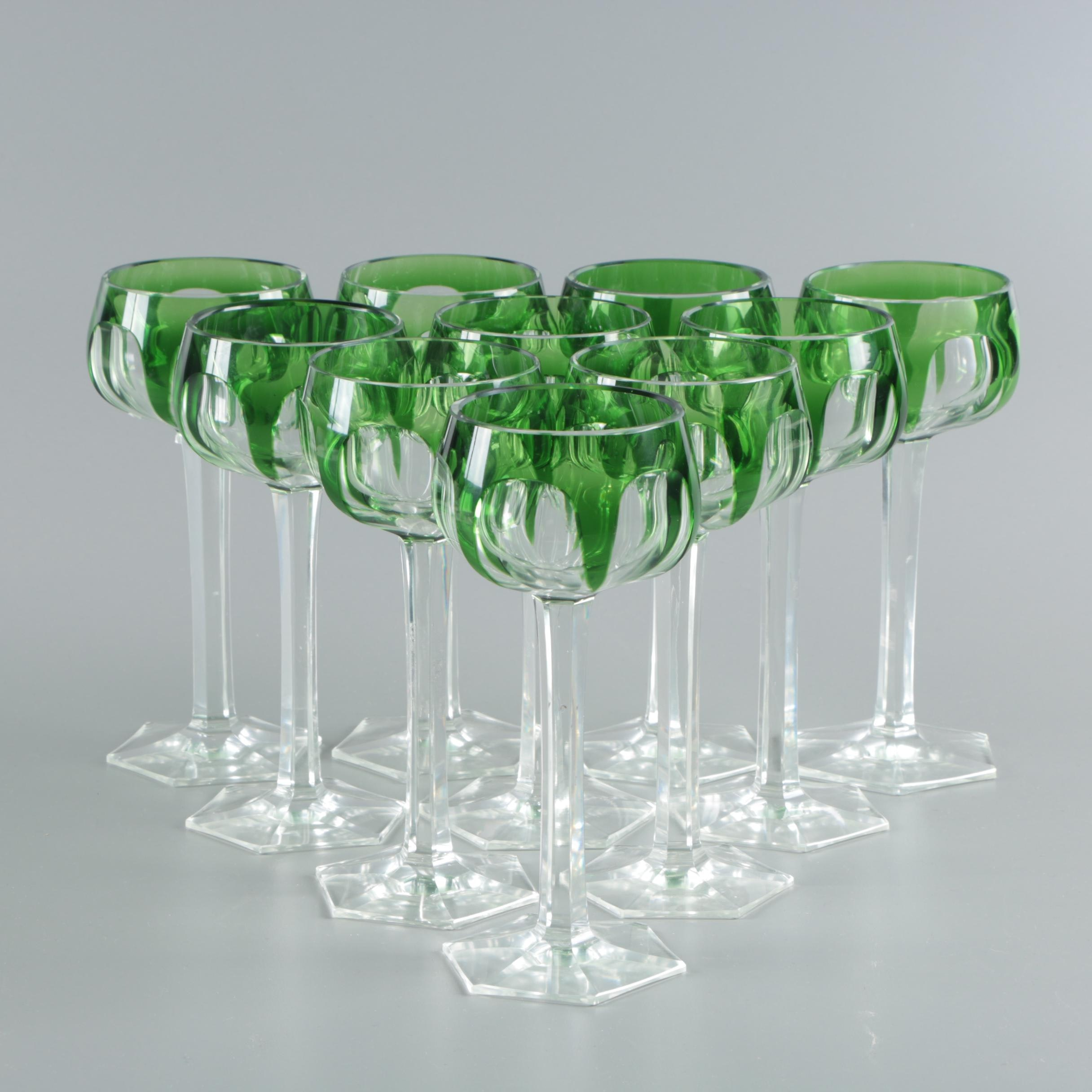 Bohemian Style Emerald Cut to Clear Glass Wine Hocks