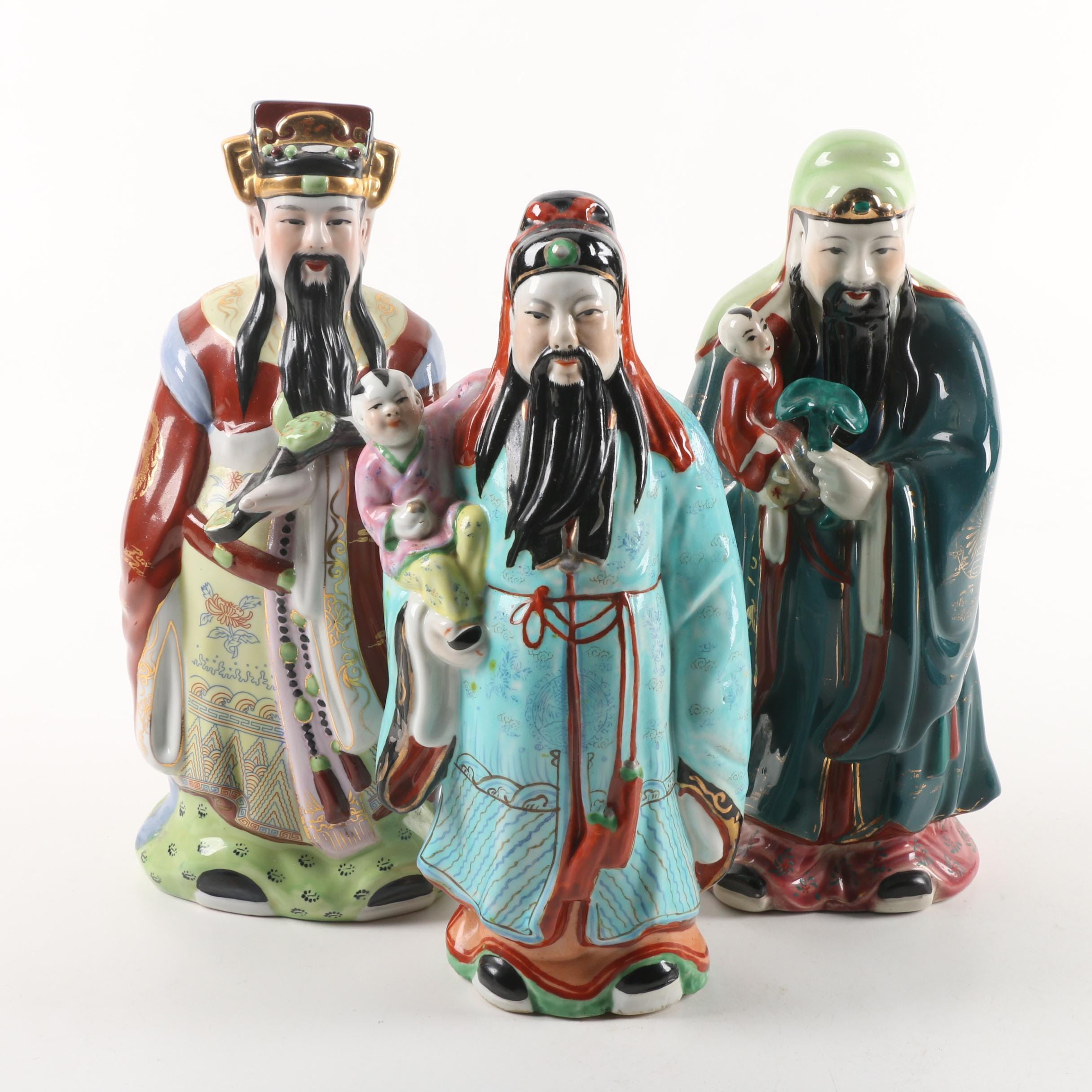 Chinese Sanxing Deities Ceramic Figurines