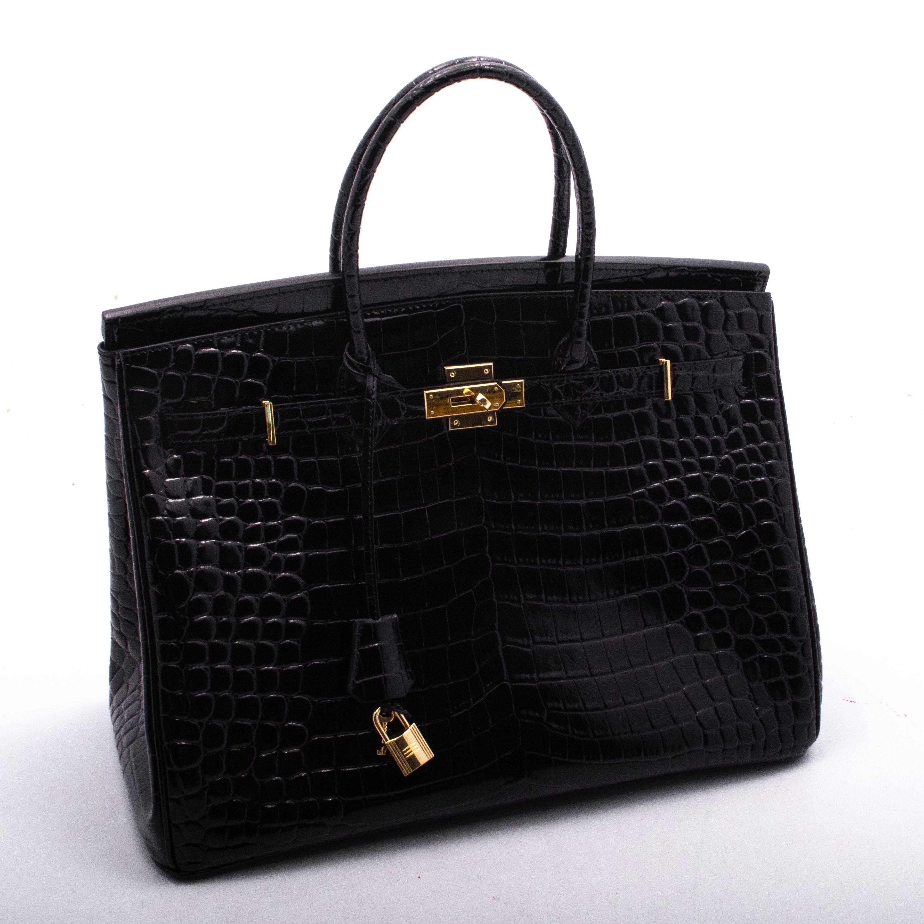 Faux Crocodile Embossed Black Patent Leather Tote