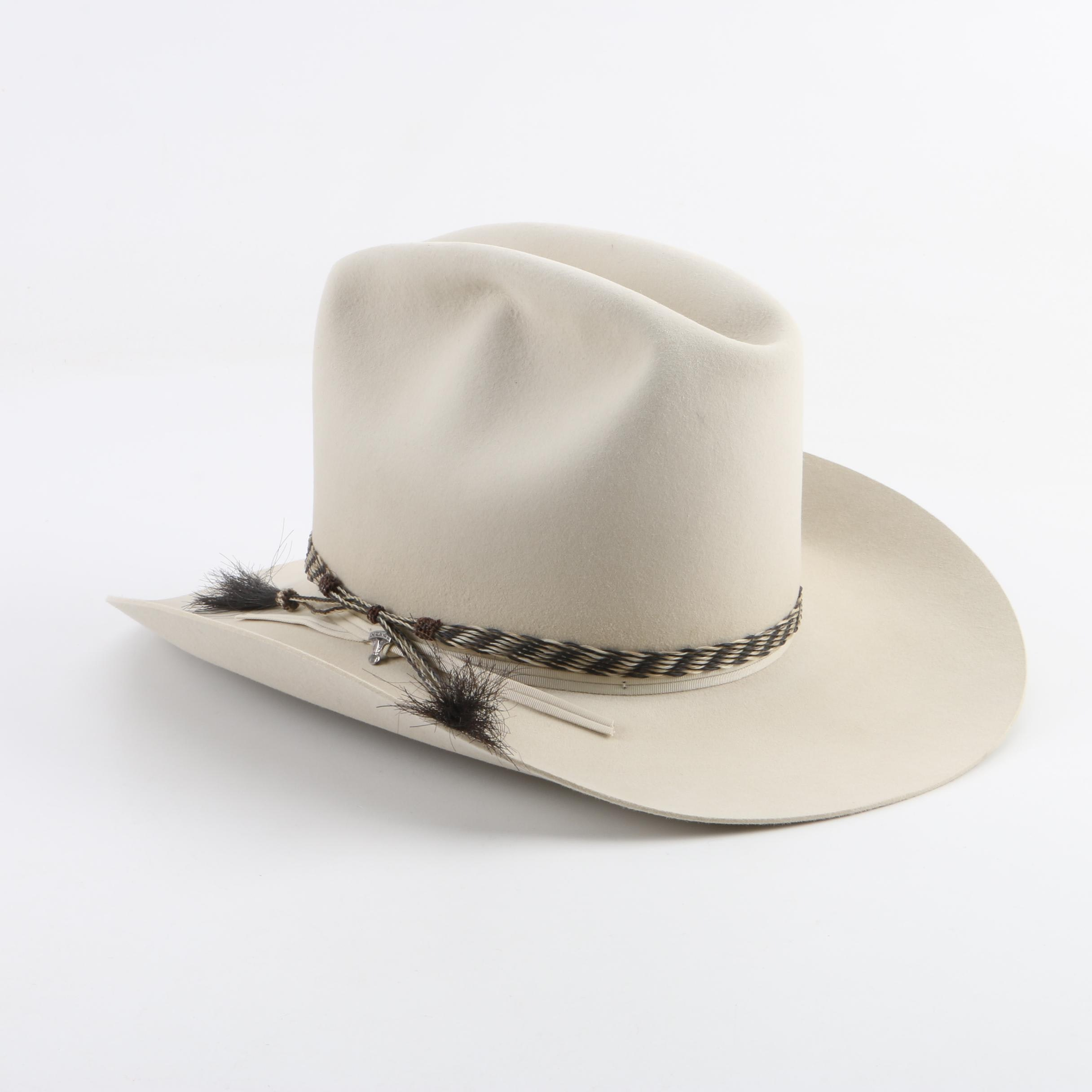 Men's American Hat Co. Cream 10X Beaver Felt Western Hat with Selection of Bands