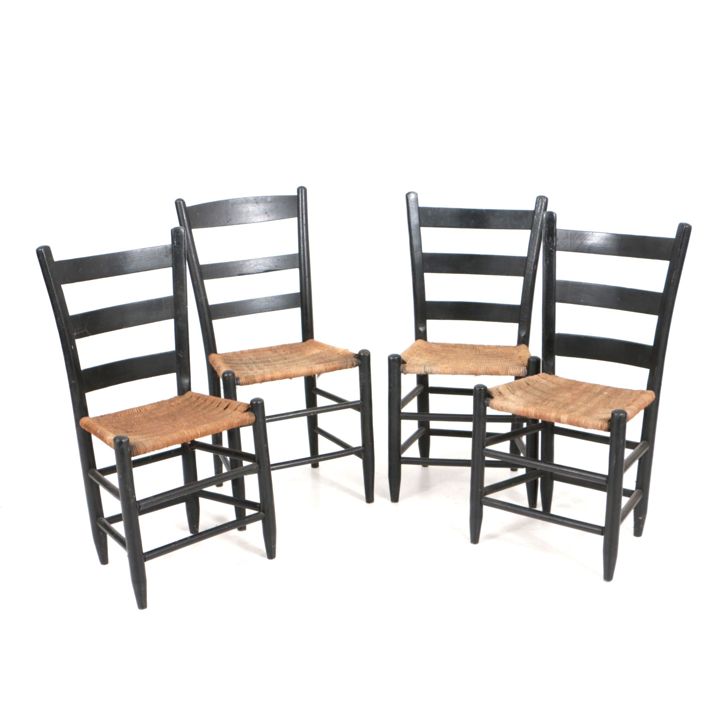 Antique Ladderback Side Chairs in Black Paint