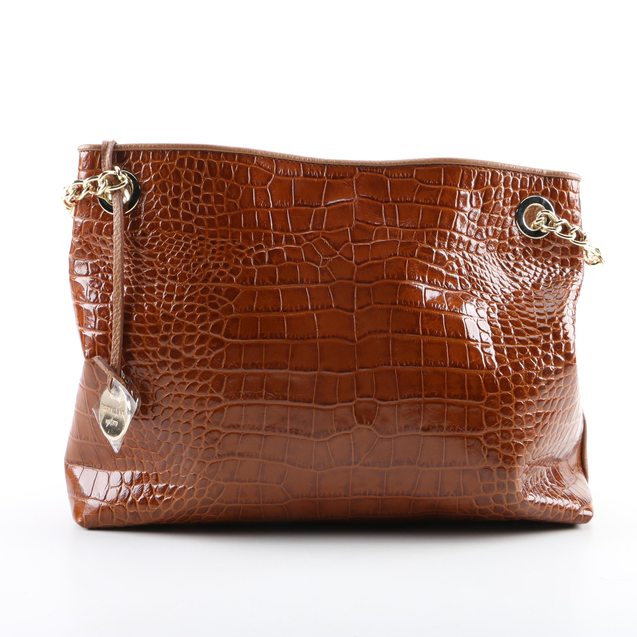 Rowallan Embossed Leather and Pebbled Leather Handbag in Brown