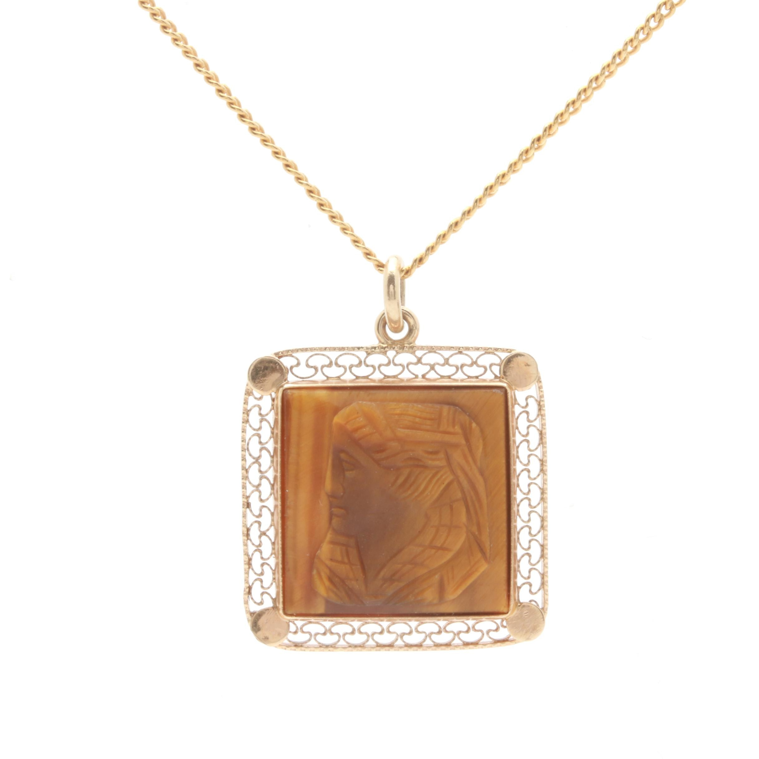 14K Yellow Gold Tiger's Eye Cameo Necklace