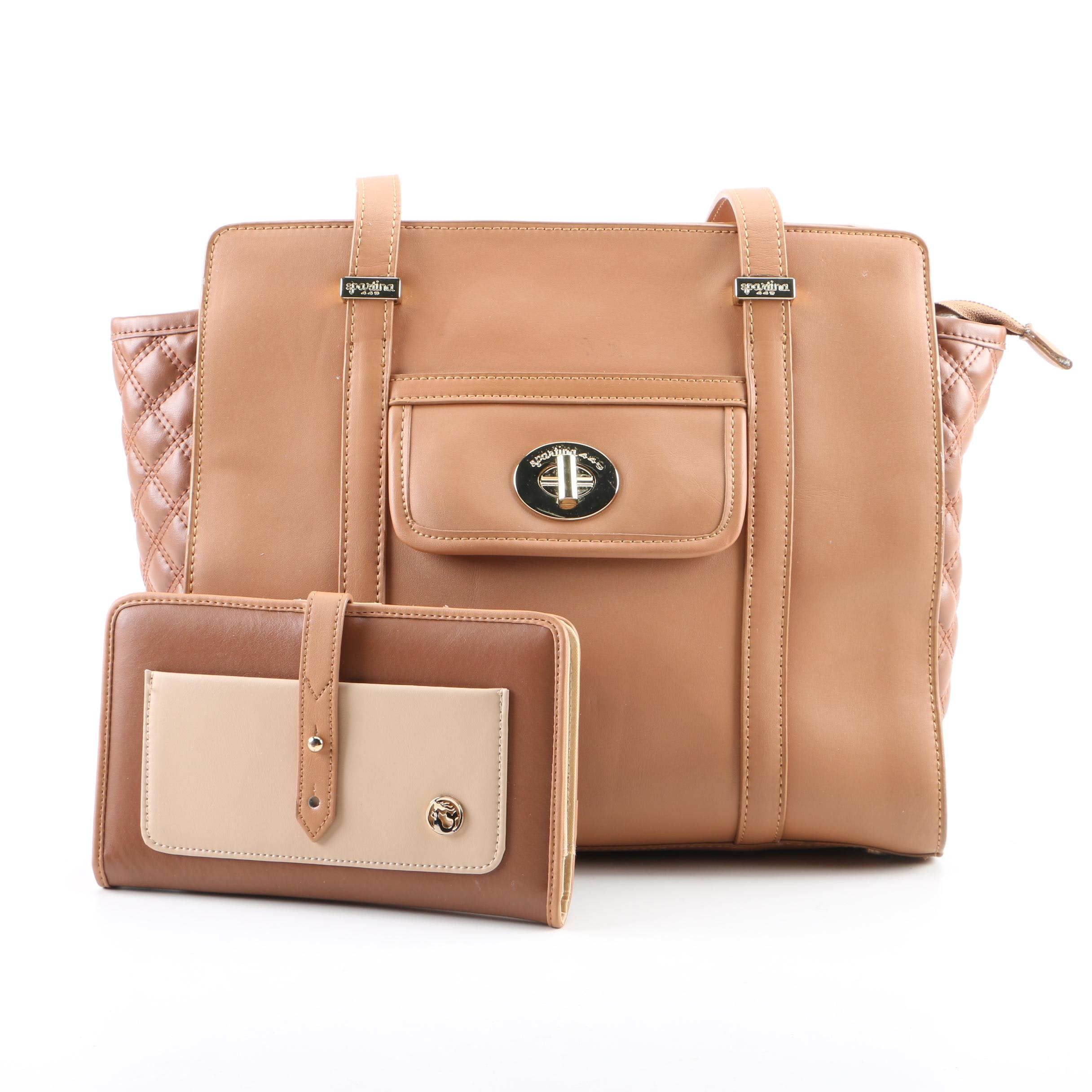 Spartina 449 Tan Leather Tote Bag with Matching Wallet