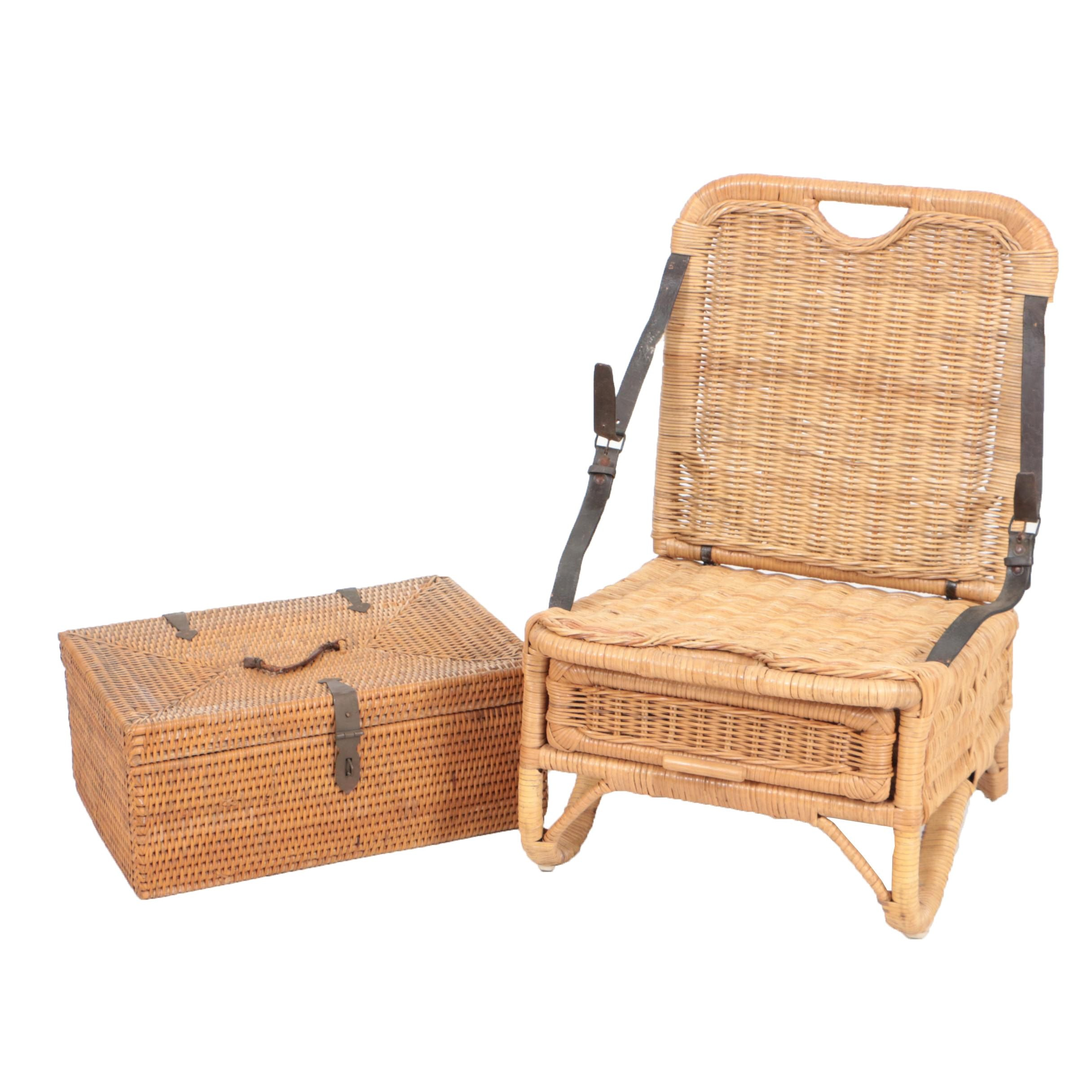 Vintage Picnic Basket and Folding Camp Chair