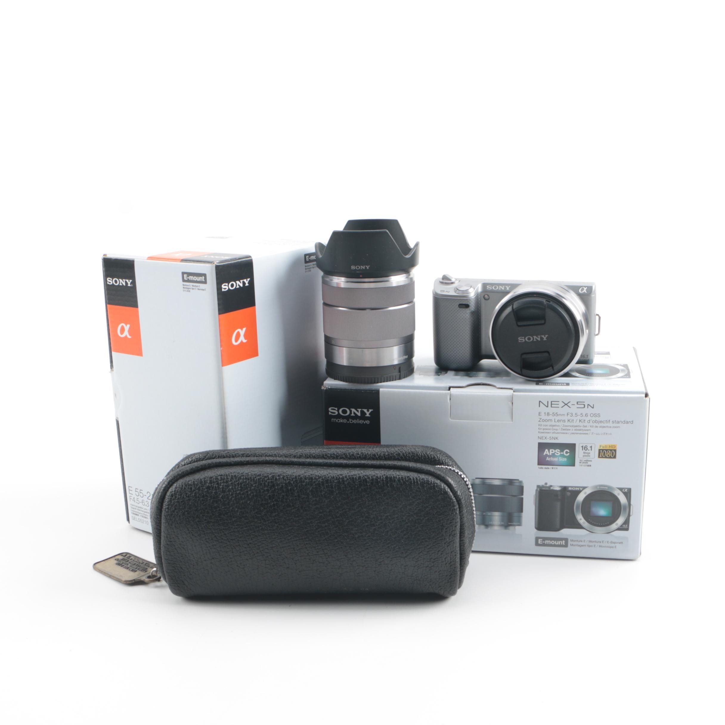 Sony NEX-5N HD AVCHD Digital Camera, Lenses and Case