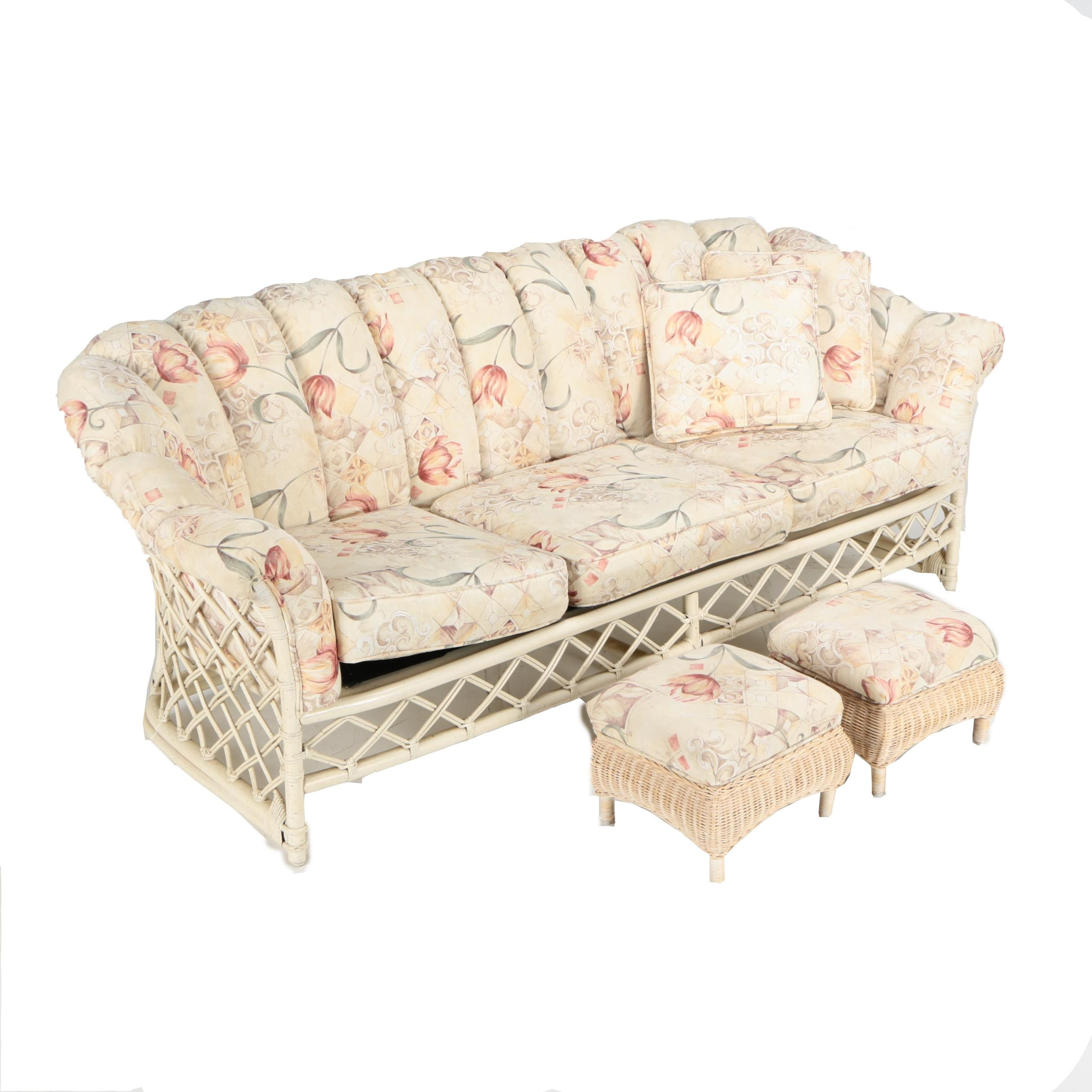 Vintage Rattan Sofa and Upholstered Footstools by Ficks Reed