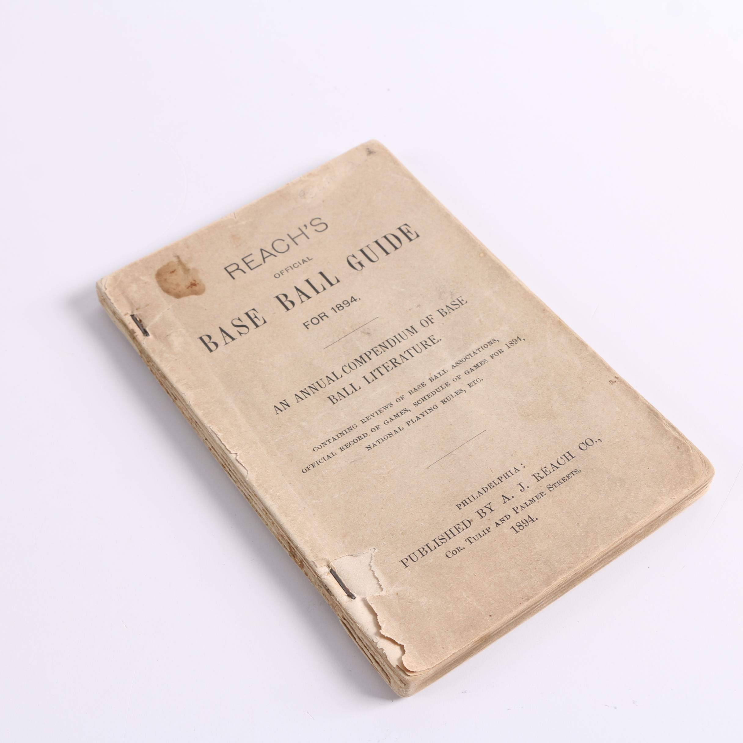 """""""Reach's Official Base Ball Guide for 1894"""""""