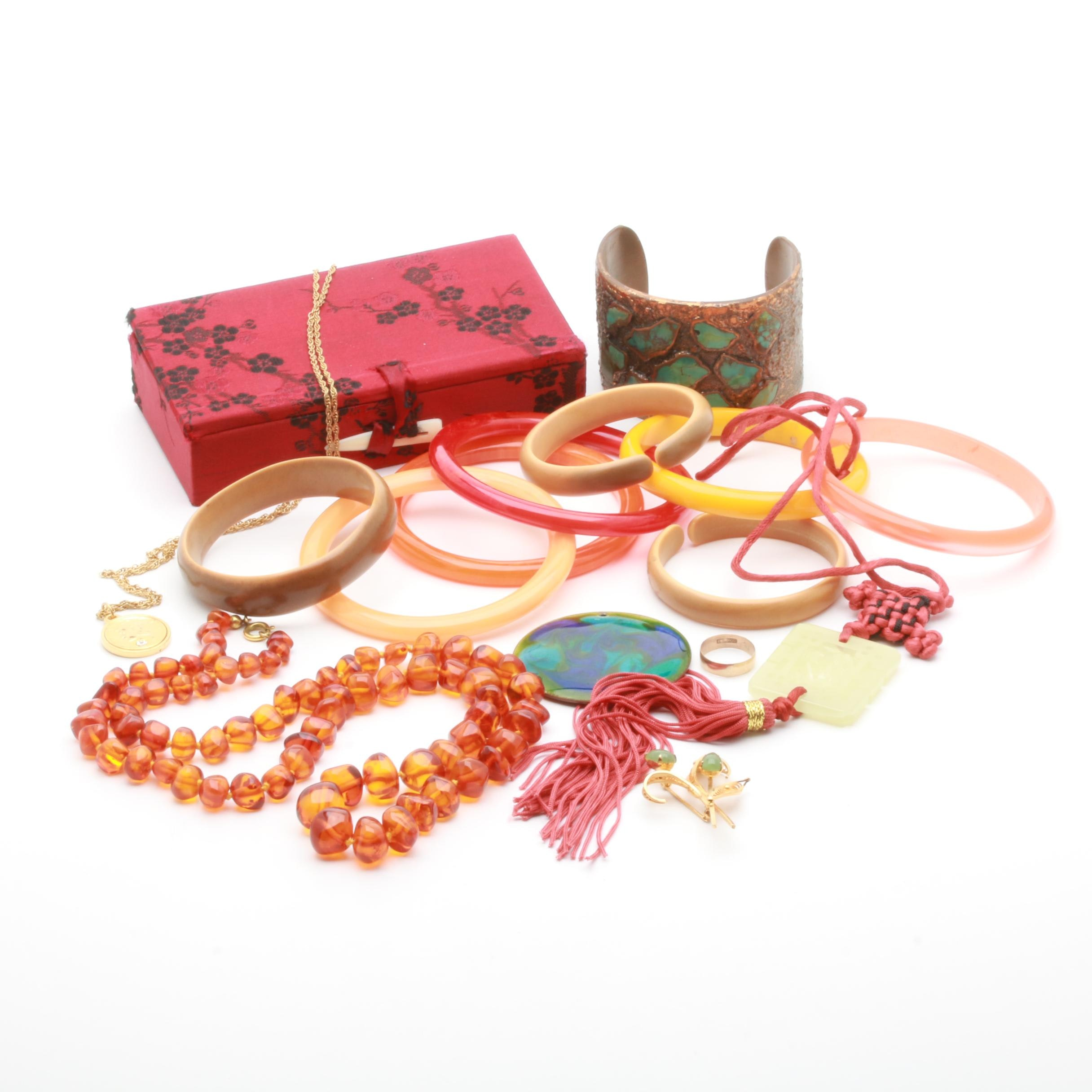 Vintage Jewelry Assortment Featuring Nephrite, Amber and Bowenite