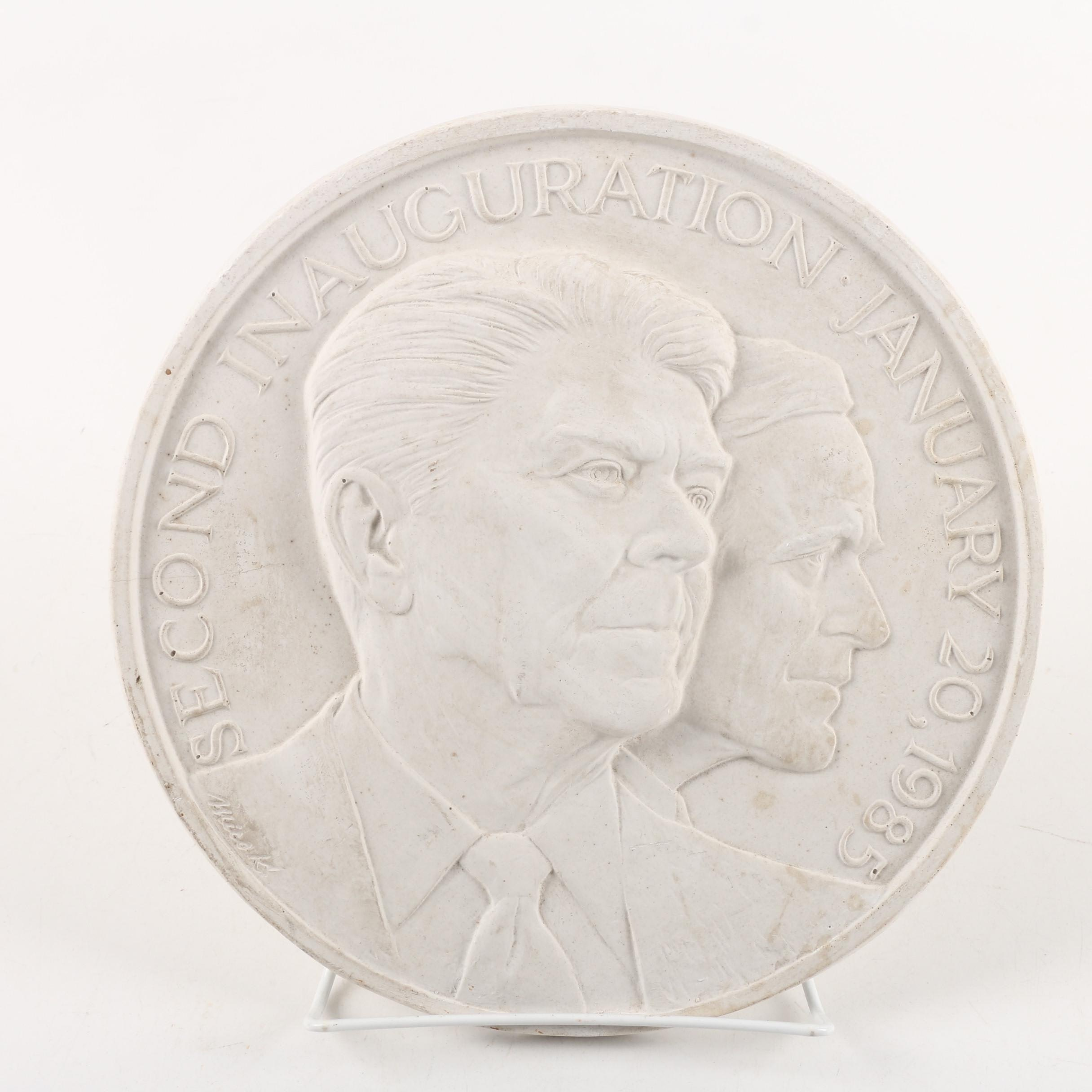 Plaster Reproduction of 1985 Reagan Inaugural Medal After Mico Kaufman