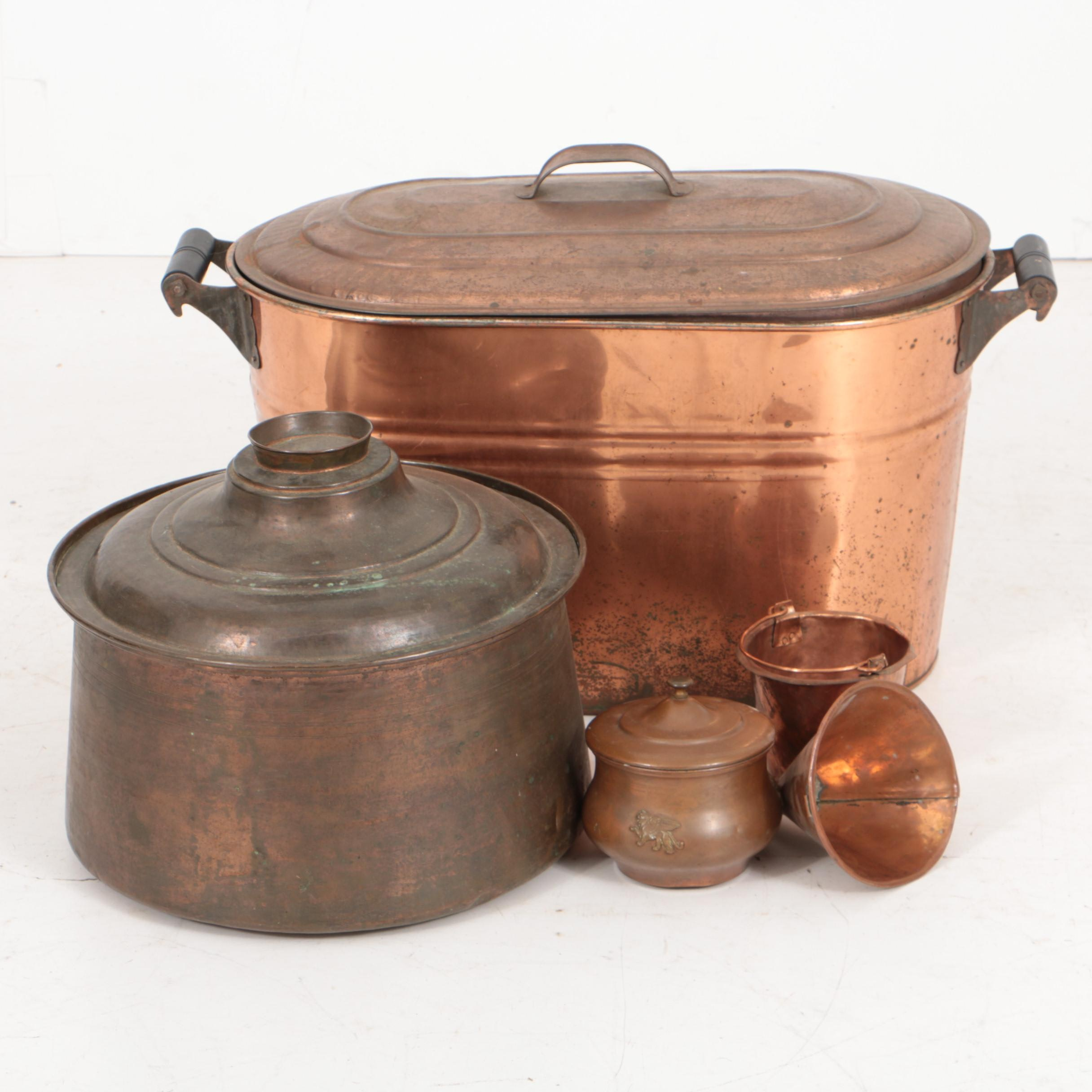 Antique Copper Wash Boiler with Other Copper Vessels