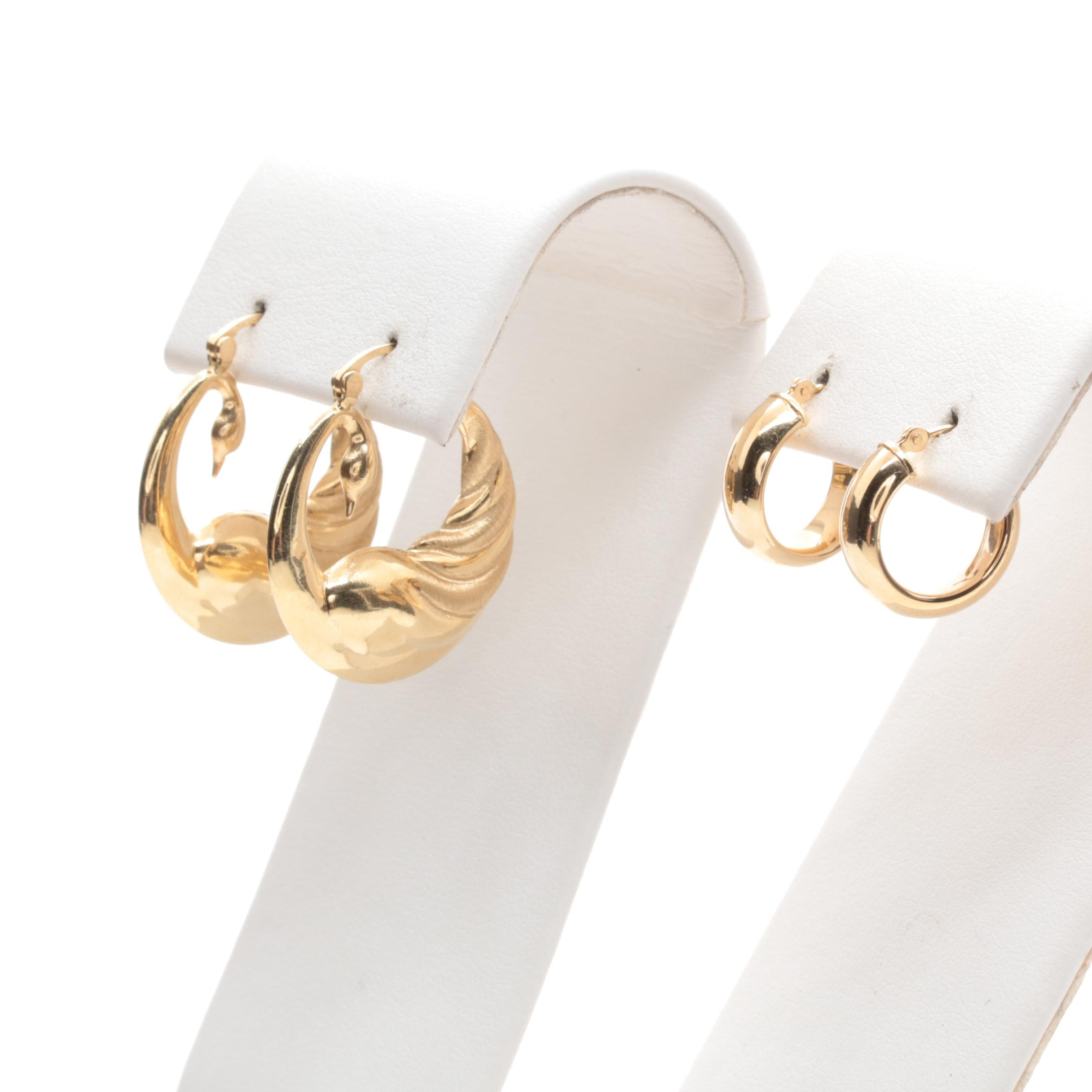 14K Yellow Gold Hoop Style Earrings