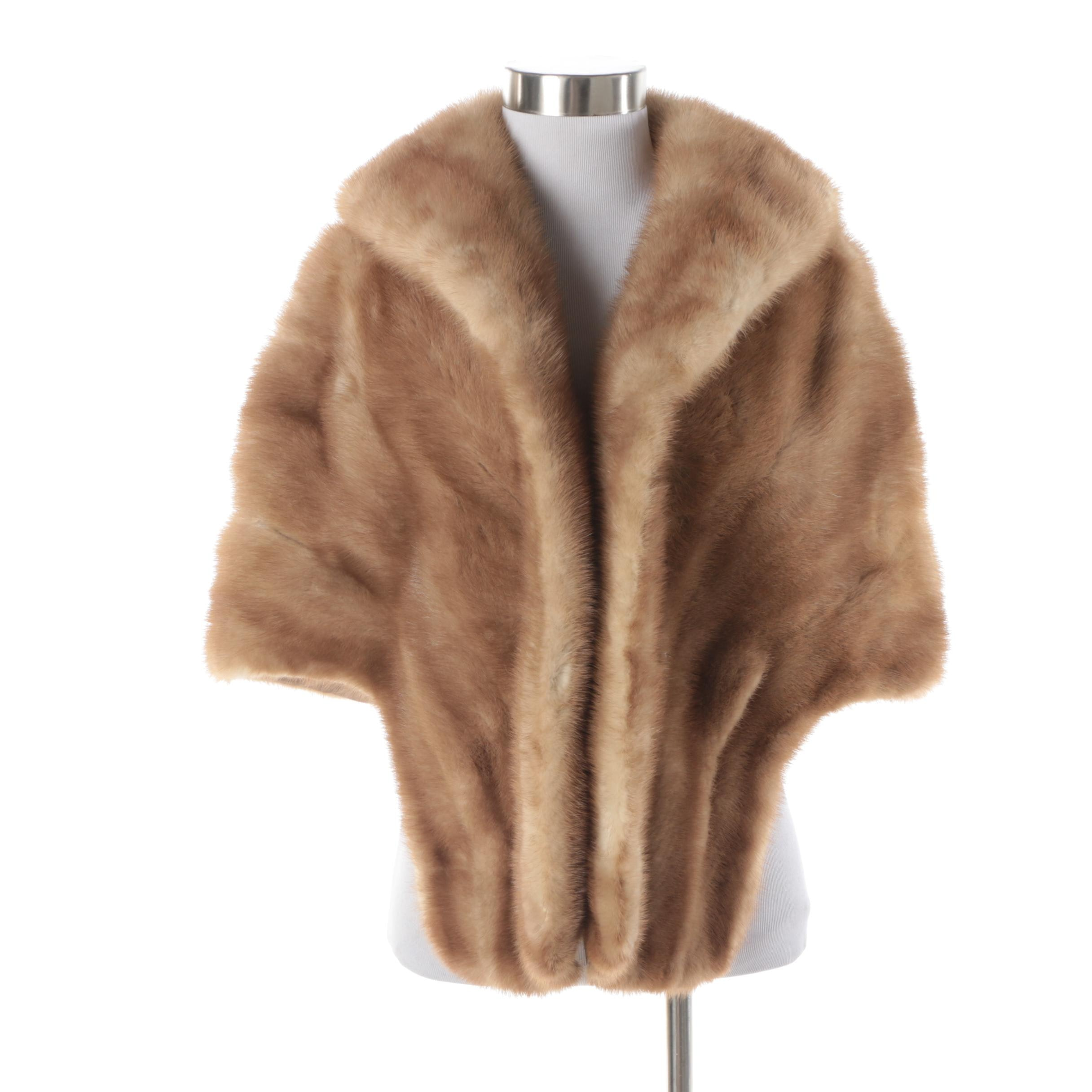 Women's Vintage Autumn Haze Emba Natural Brown Mink Fur Stole